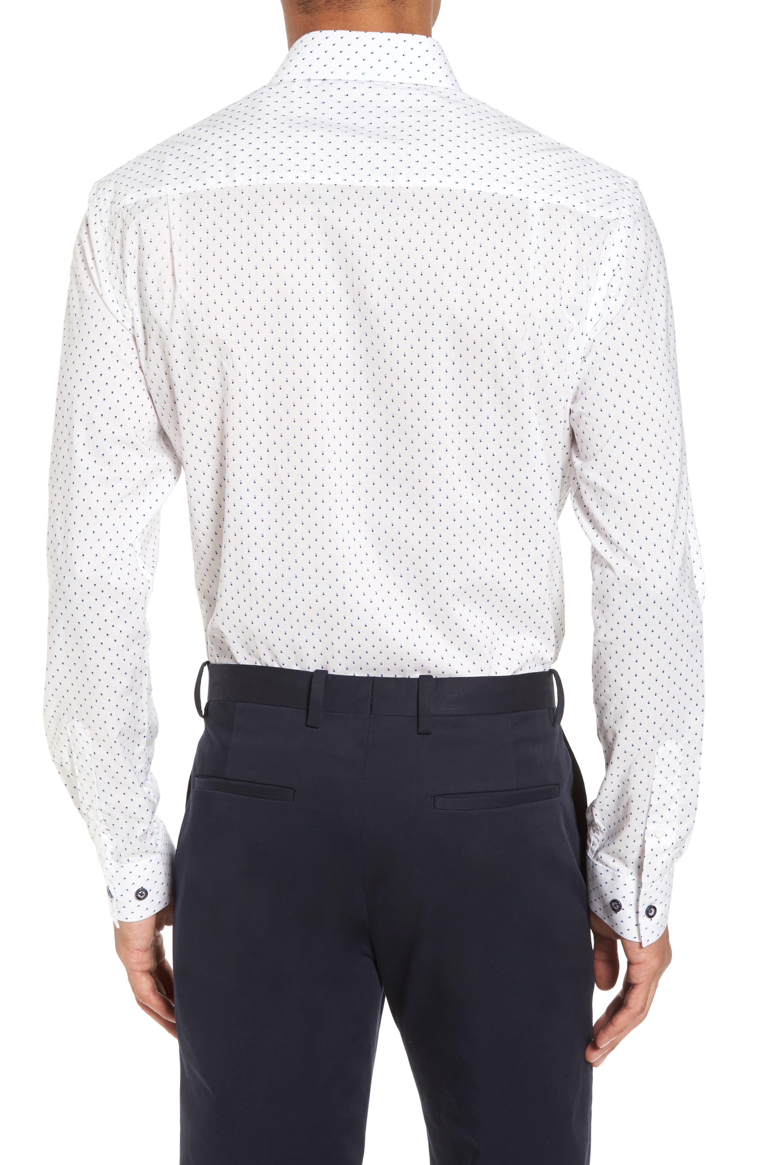 Trim Fit Dot Dress Shirt,                             Alternate thumbnail 2, color,                             100