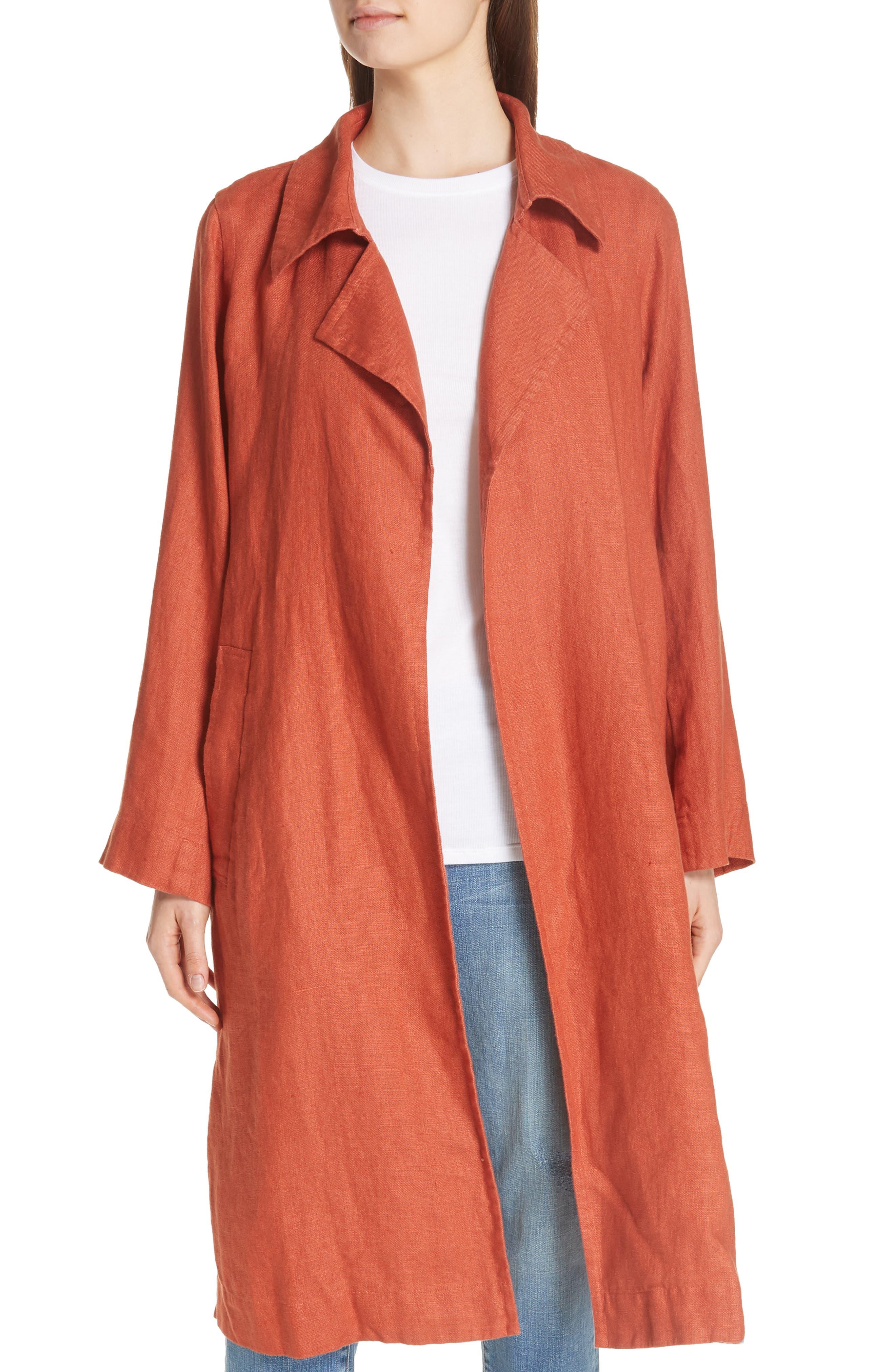 Organic Linen Trench Coat,                             Main thumbnail 1, color,                             822