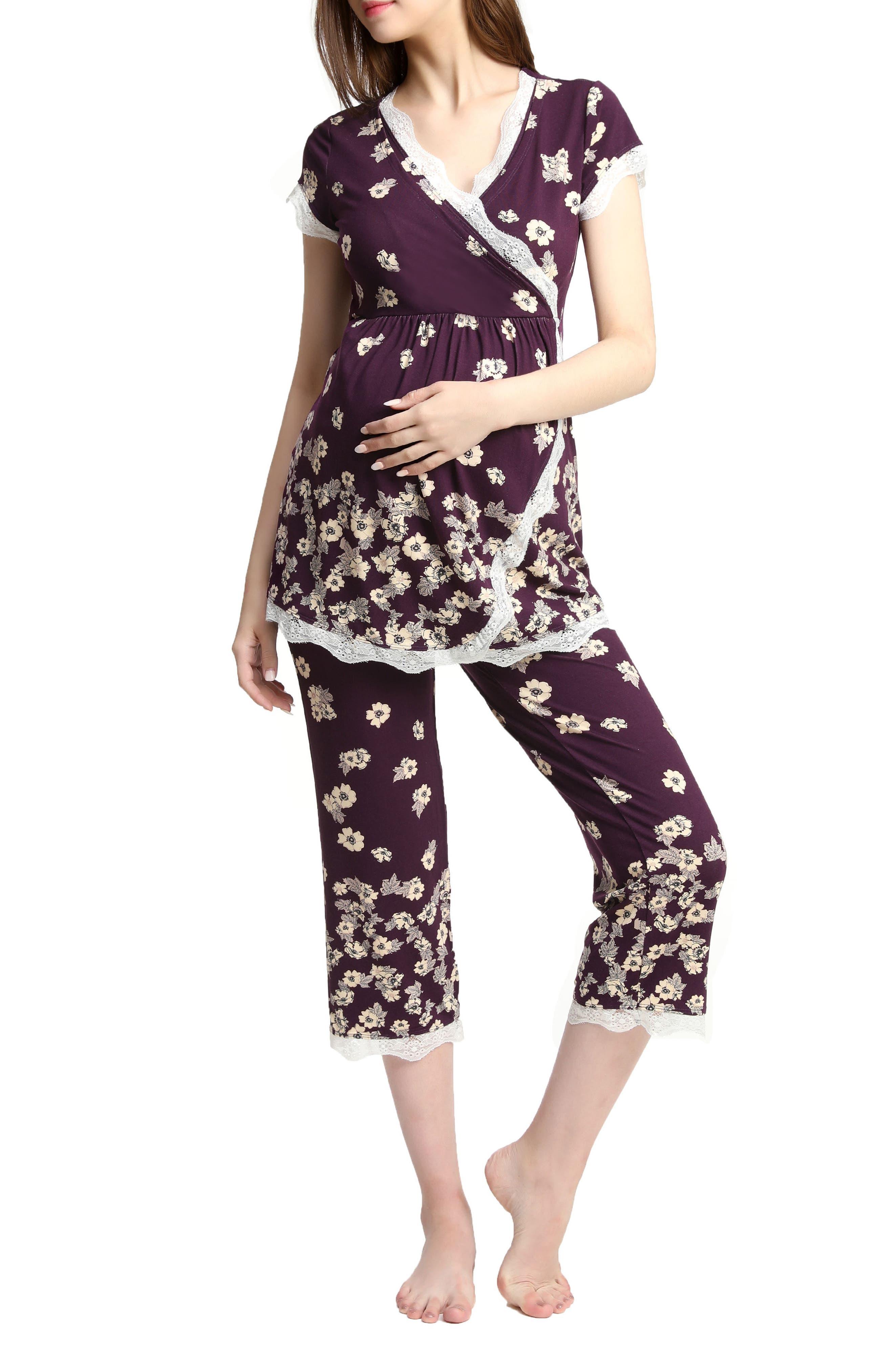 Kimi & Kai Addison Nursing/Maternity Pajamas,                             Main thumbnail 1, color,                             EGGPLANT
