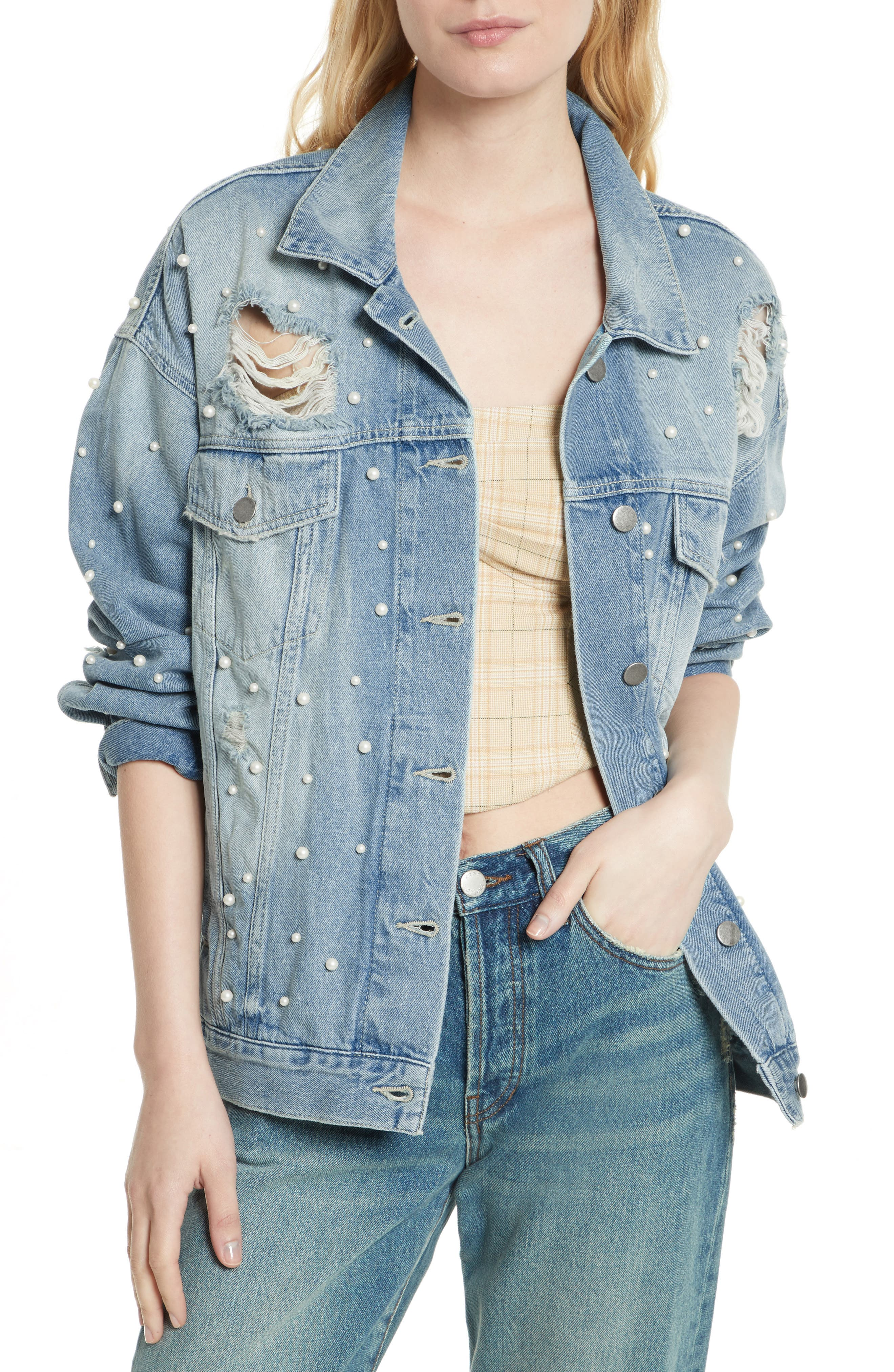 We the Free by Free People Sunday Funday Denim Trucker Jacket,                         Main,                         color, 403