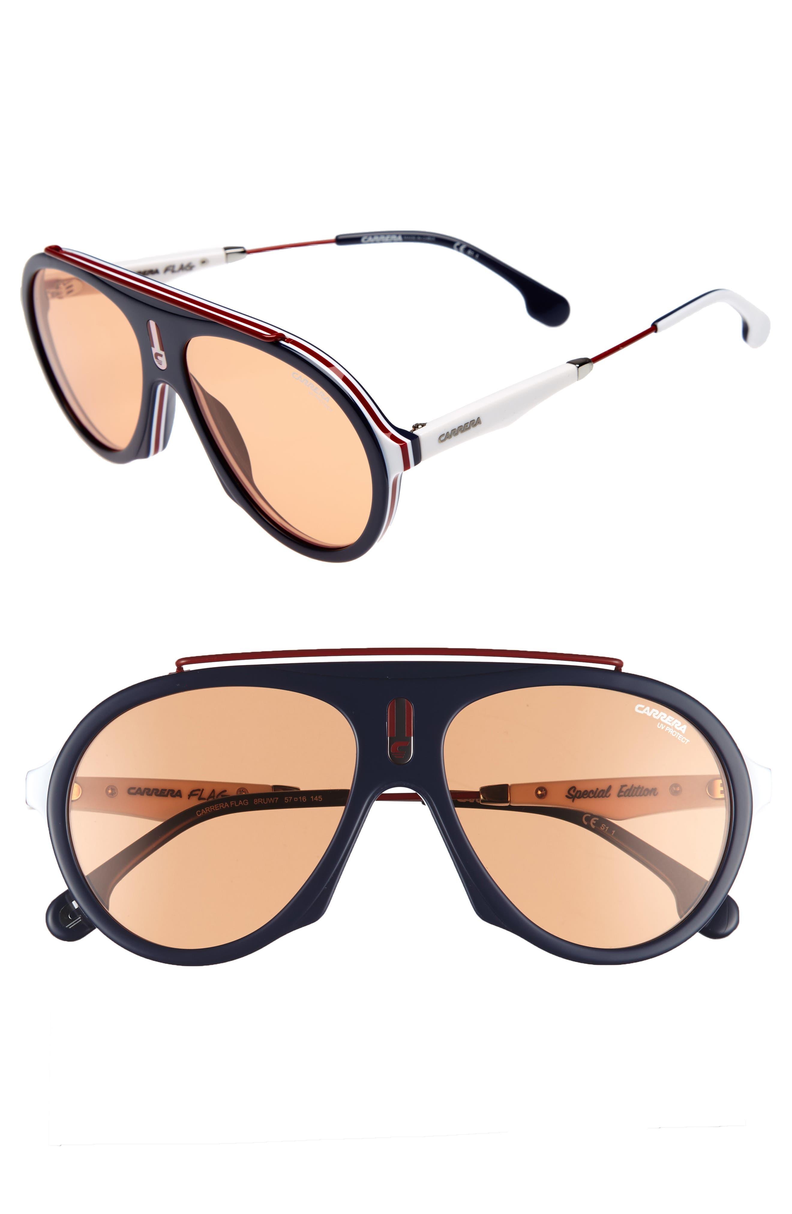 Carrera Flag 57mm Mirrored Pilot Sunglasses,                             Main thumbnail 5, color,