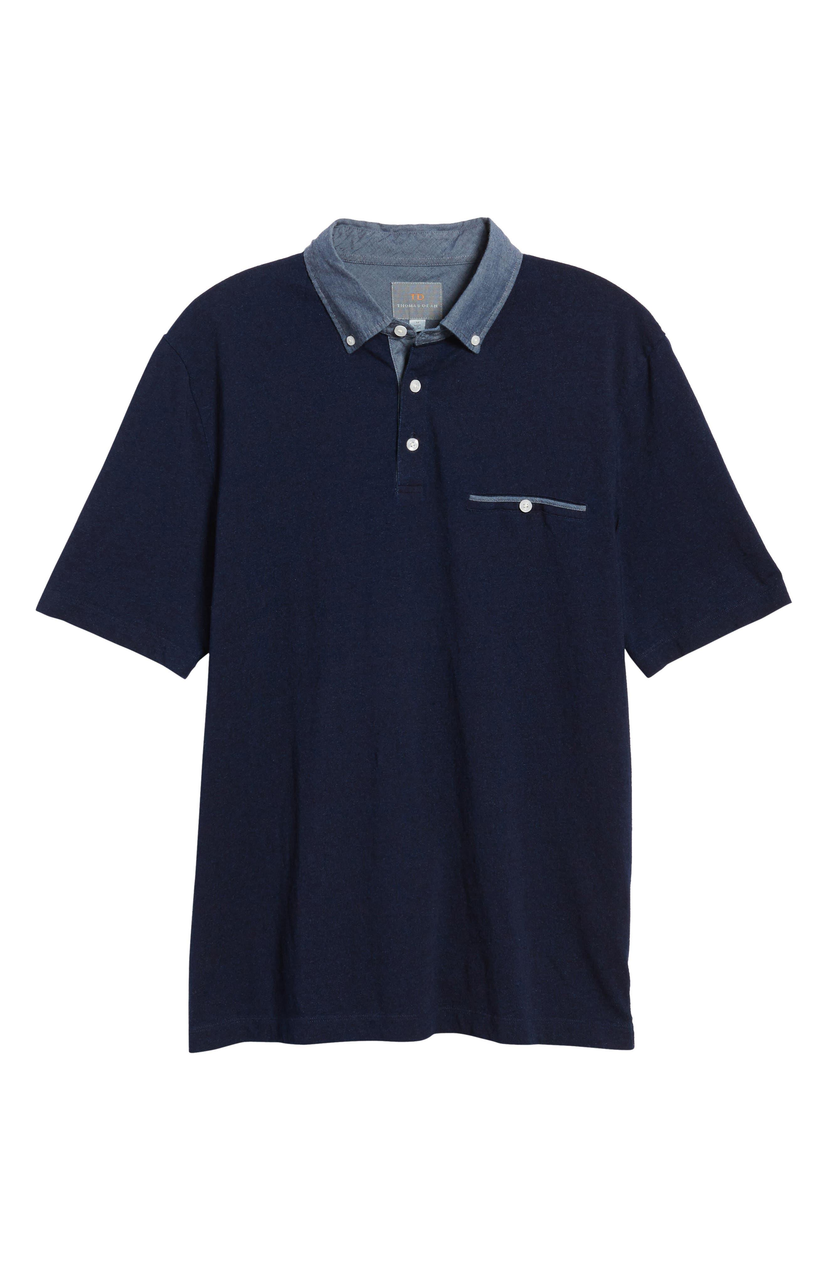 Denim Trim Jersey Polo,                             Alternate thumbnail 6, color,                             439