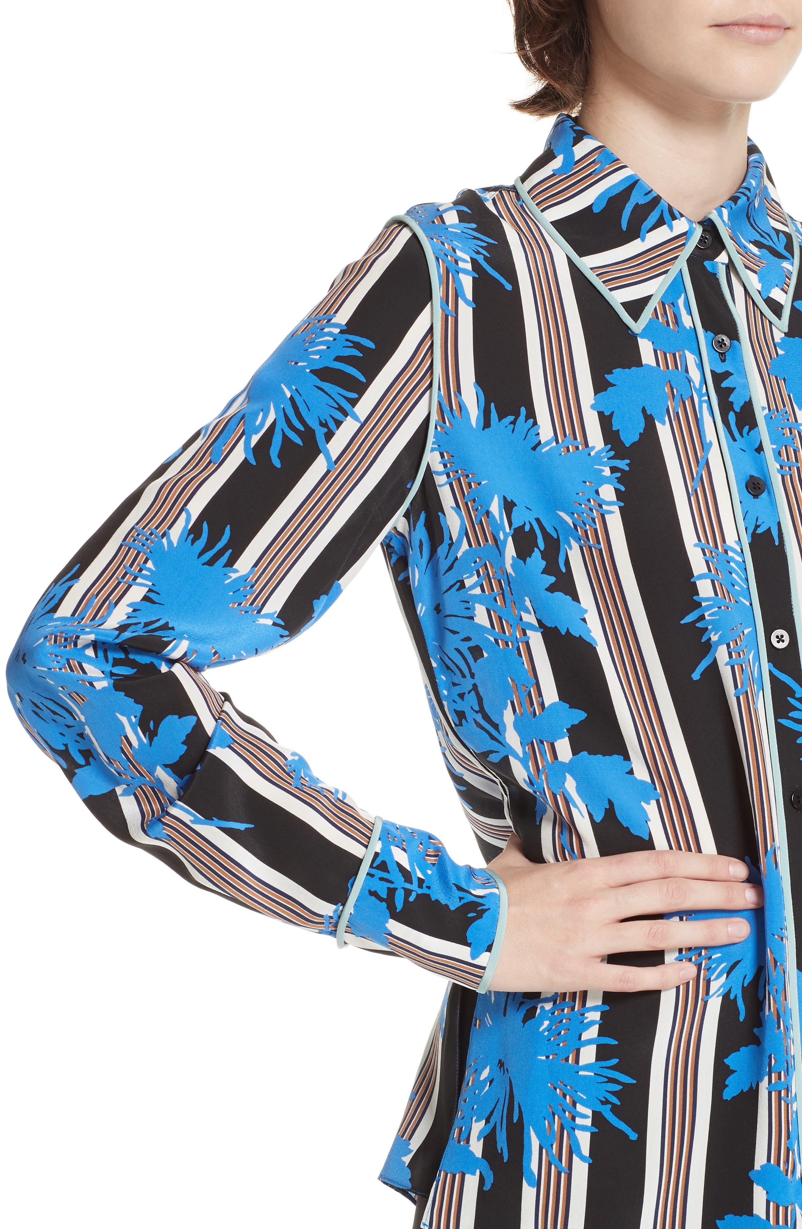 Diane von Furstenberg Floral Print Silk Shirt,                             Alternate thumbnail 4, color,                             SHELFORD B