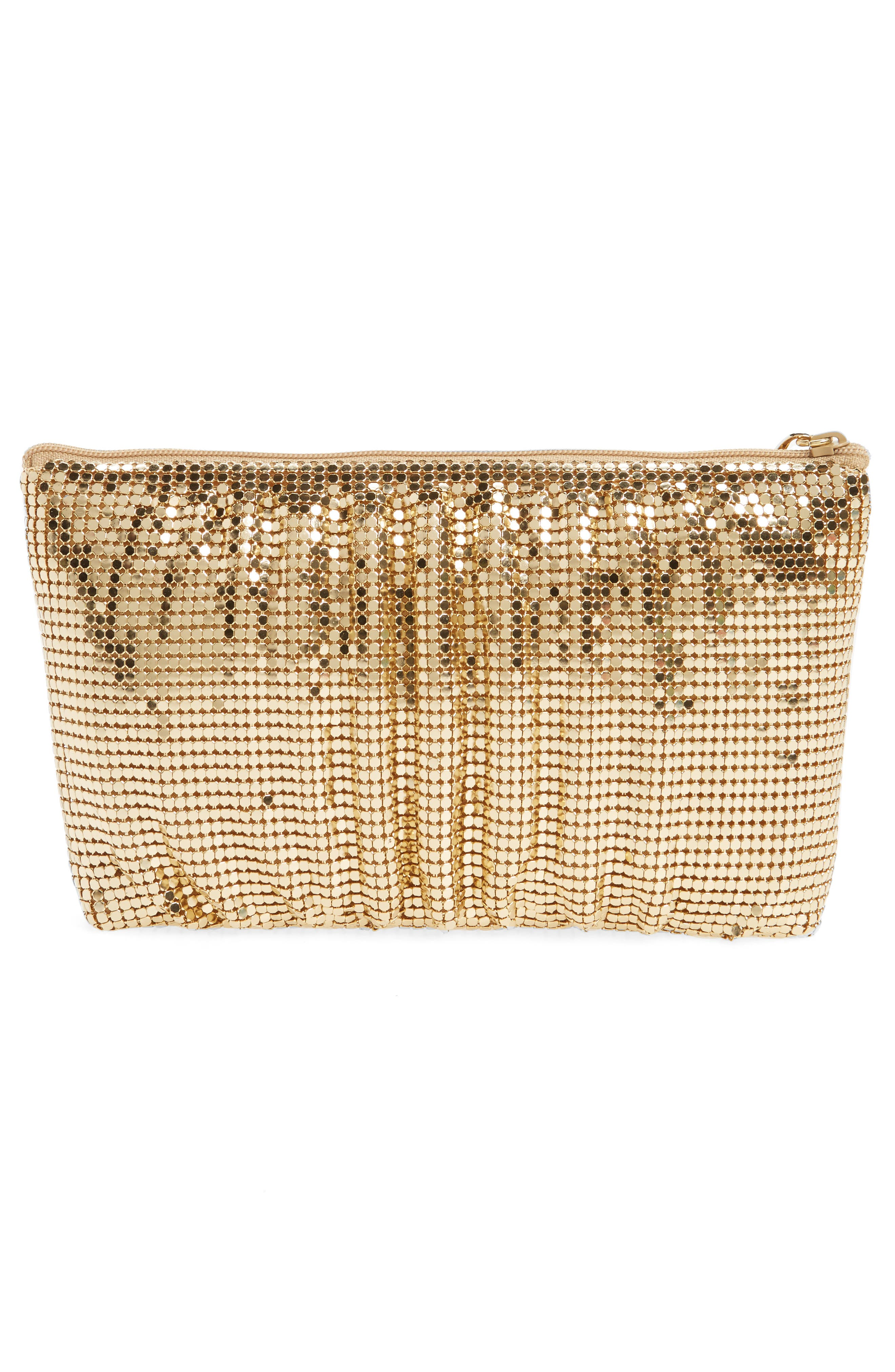 Shirred Mesh Pouch Clutch,                             Alternate thumbnail 3, color,                             GOLD
