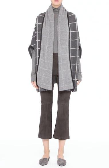 Leather Trim Windowpane Felted Wool Blend Cardigan, video thumbnail