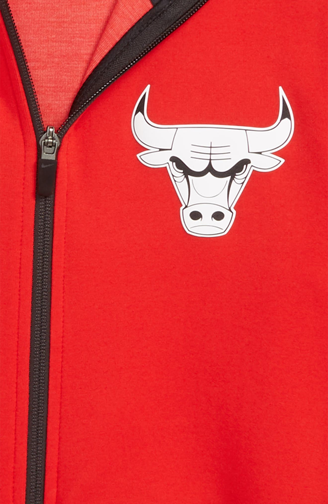 Chicago Bulls Showtime Dri-FIT Zip Hoodie,                             Alternate thumbnail 2, color,                             UNIVERSITY RED