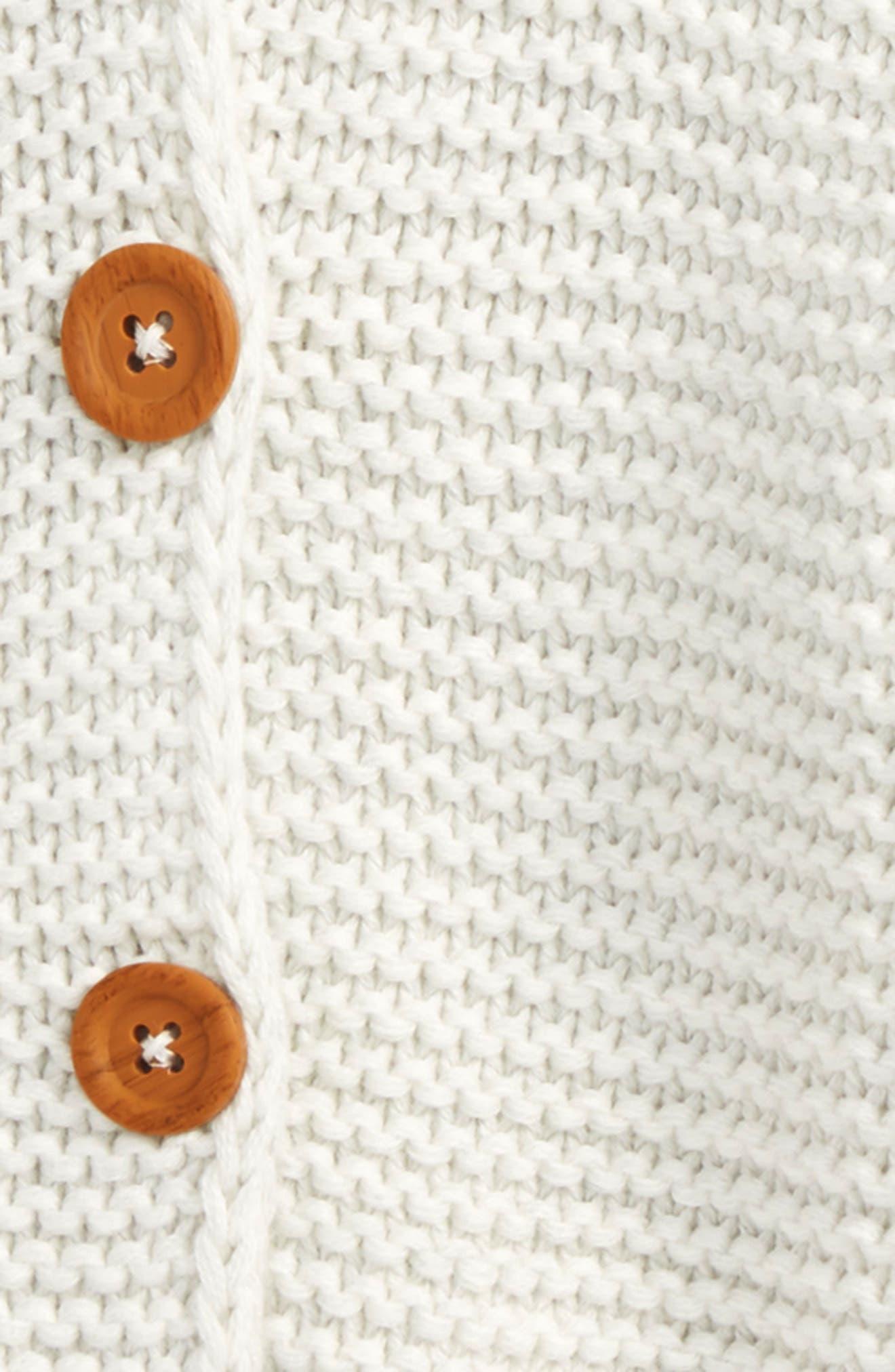 Organic Cotton Hooded Cardigan,                             Alternate thumbnail 2, color,                             IVORY EGRET HEATHER
