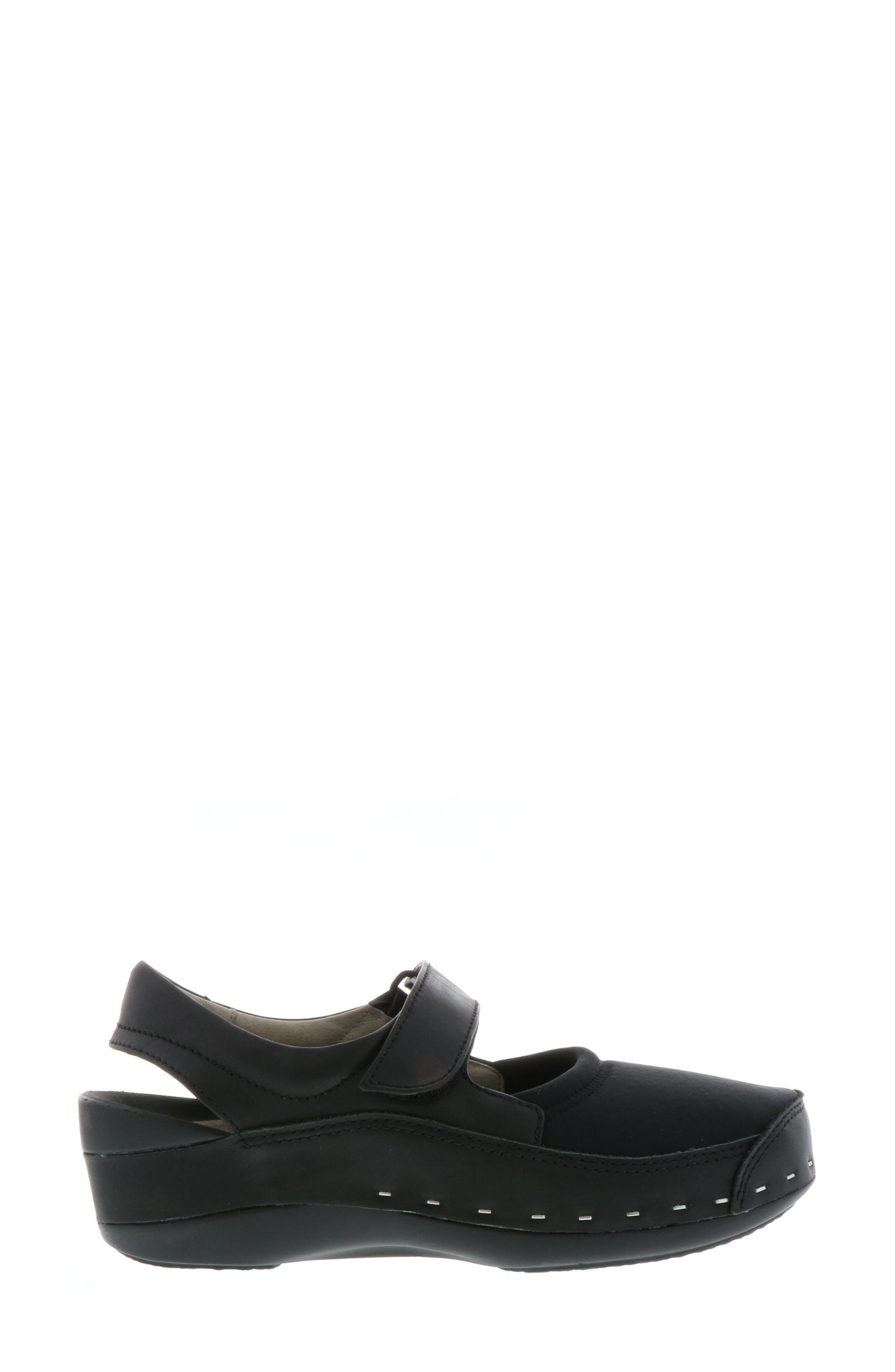 WOLKY,                             Ankle Strap Clog,                             Alternate thumbnail 3, color,                             BLACK LEATHER