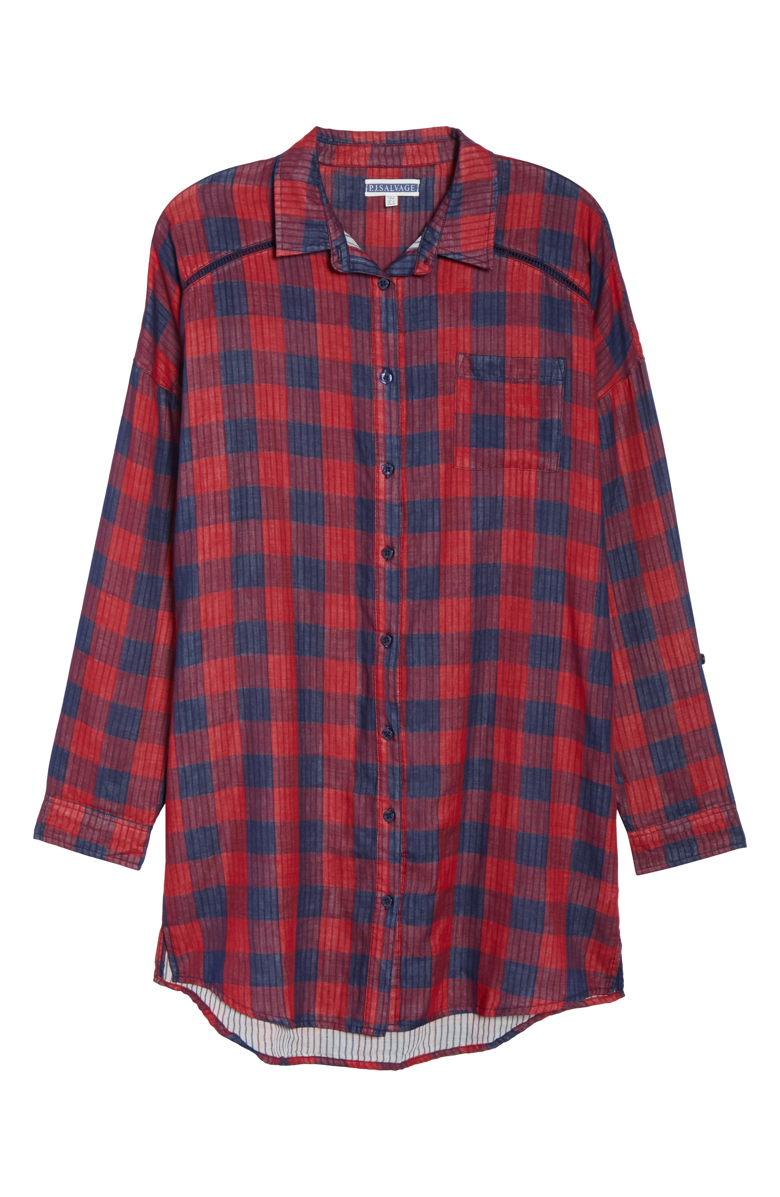 Check Nightshirt,                             Alternate thumbnail 6, color,                             RED