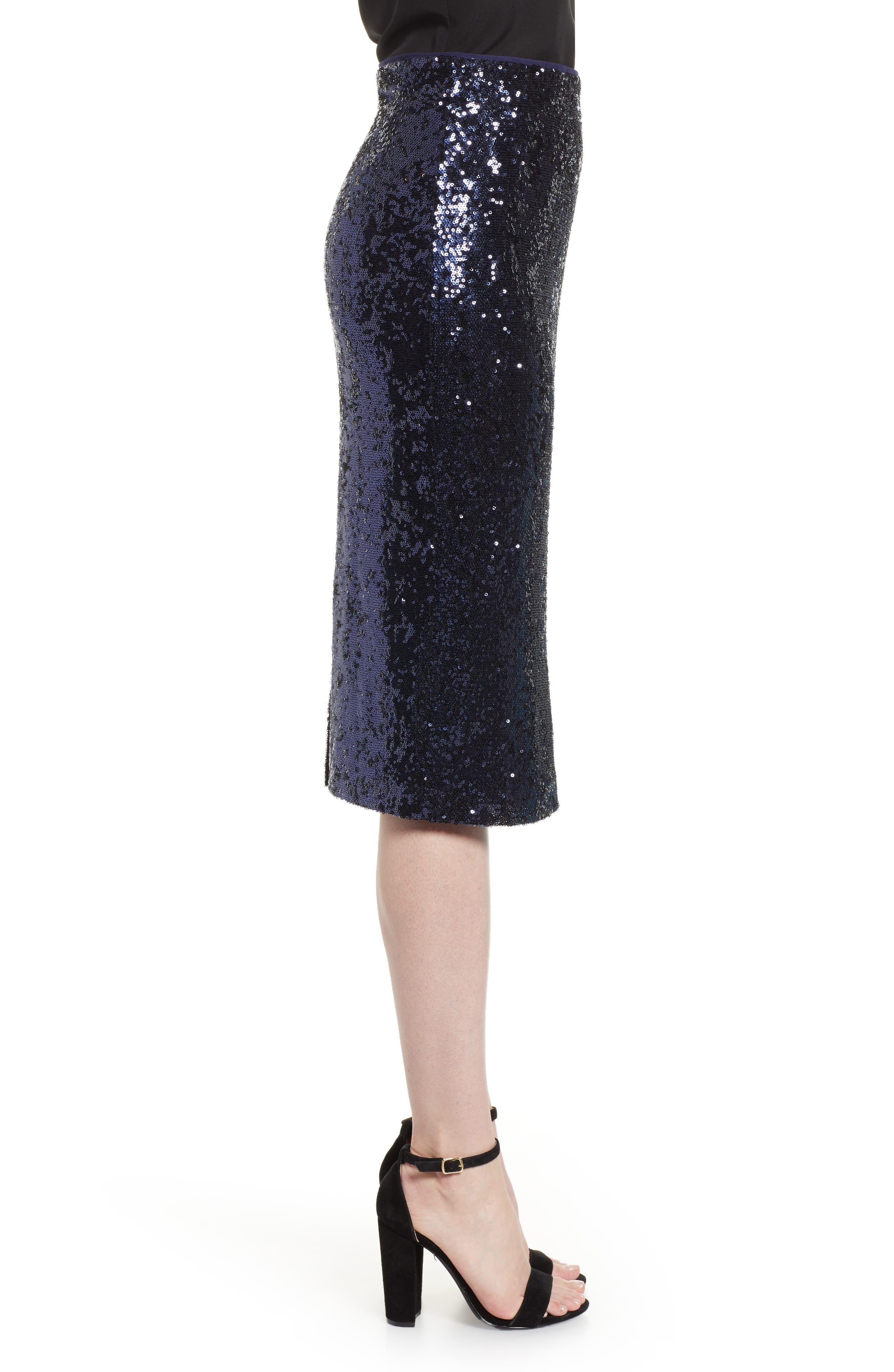 Sequin Pencil Skirt,                             Alternate thumbnail 3, color,                             NAVY MINI SEQUINS