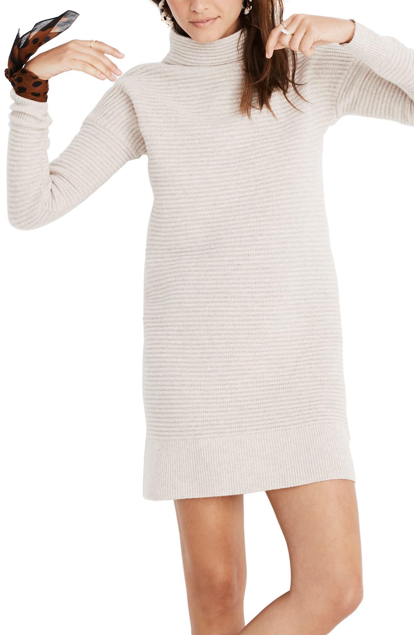 Skyscraper Merino Wool Sweater Dress,                         Main,                         color, HEATHER ALMOND