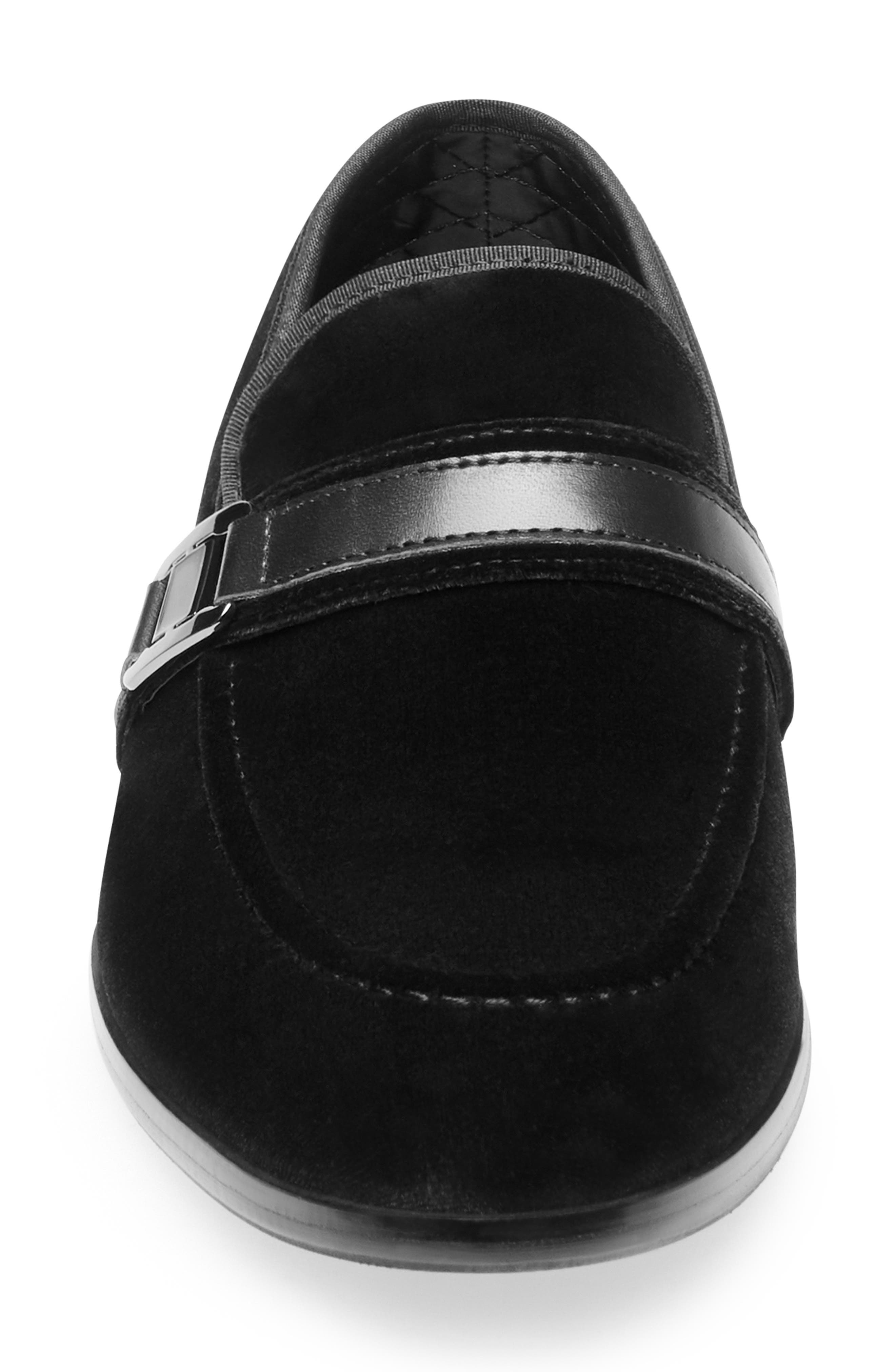 Macklin Bit Loafer,                             Alternate thumbnail 4, color,                             BLACK FABRIC