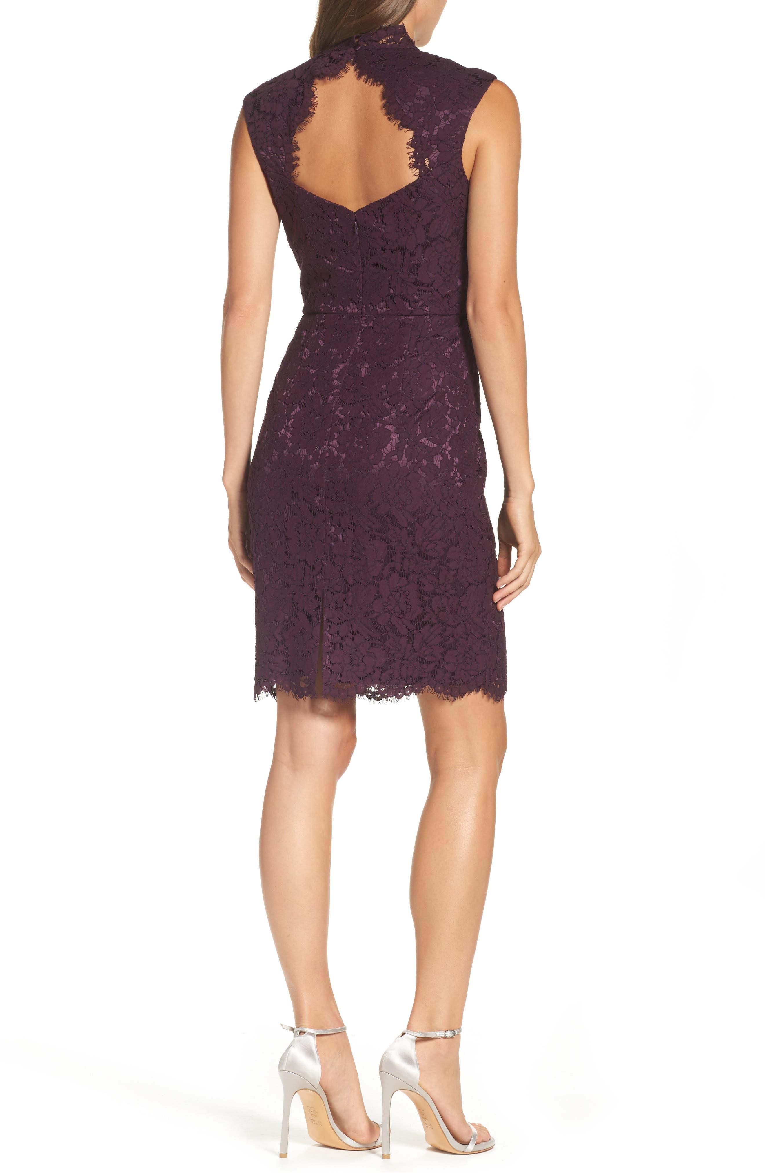 Open Back Lace Sheath Dress,                             Alternate thumbnail 2, color,                             506
