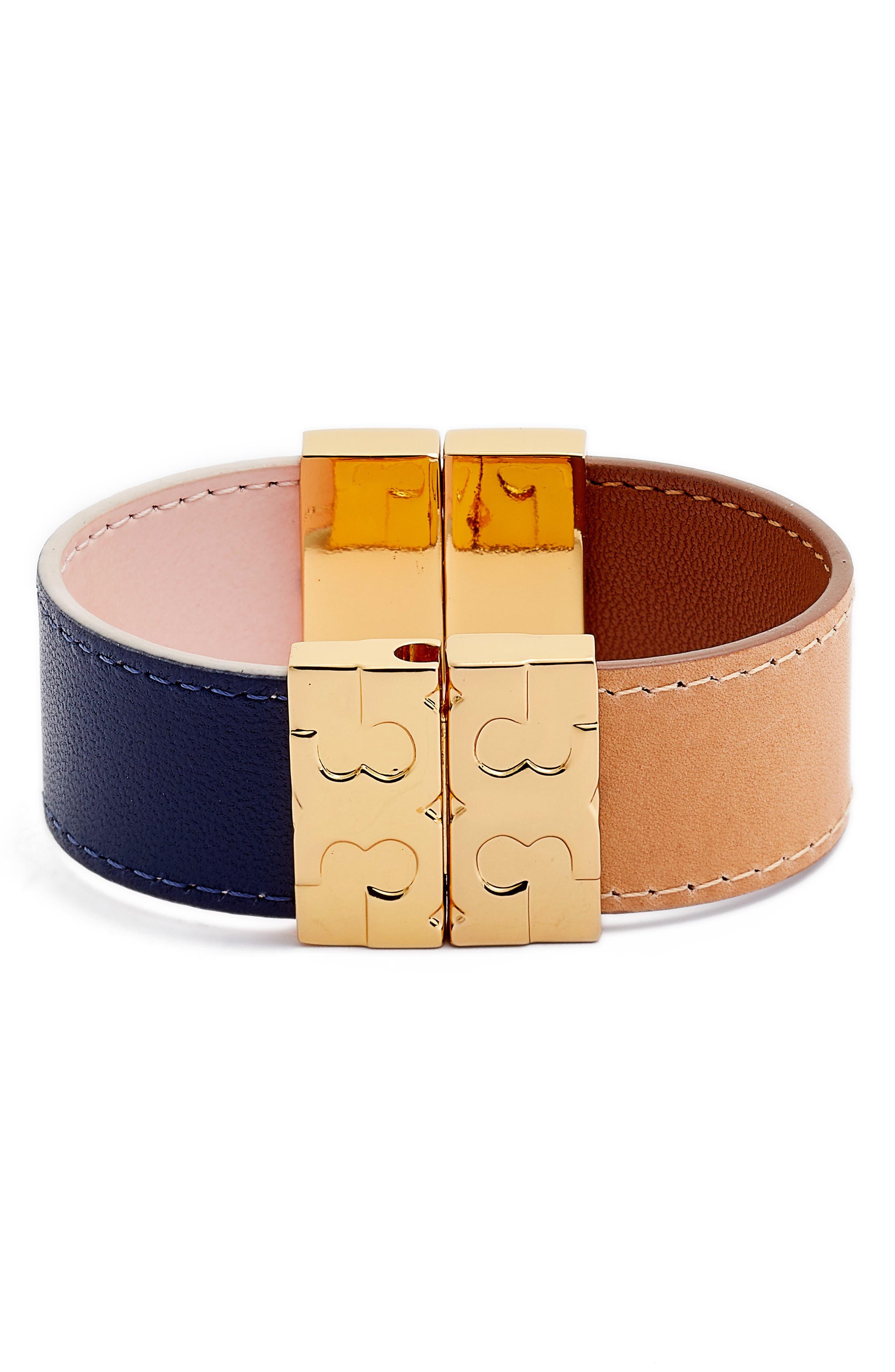Colorblock Reversible Leather Bracelet,                             Main thumbnail 1, color,                             710