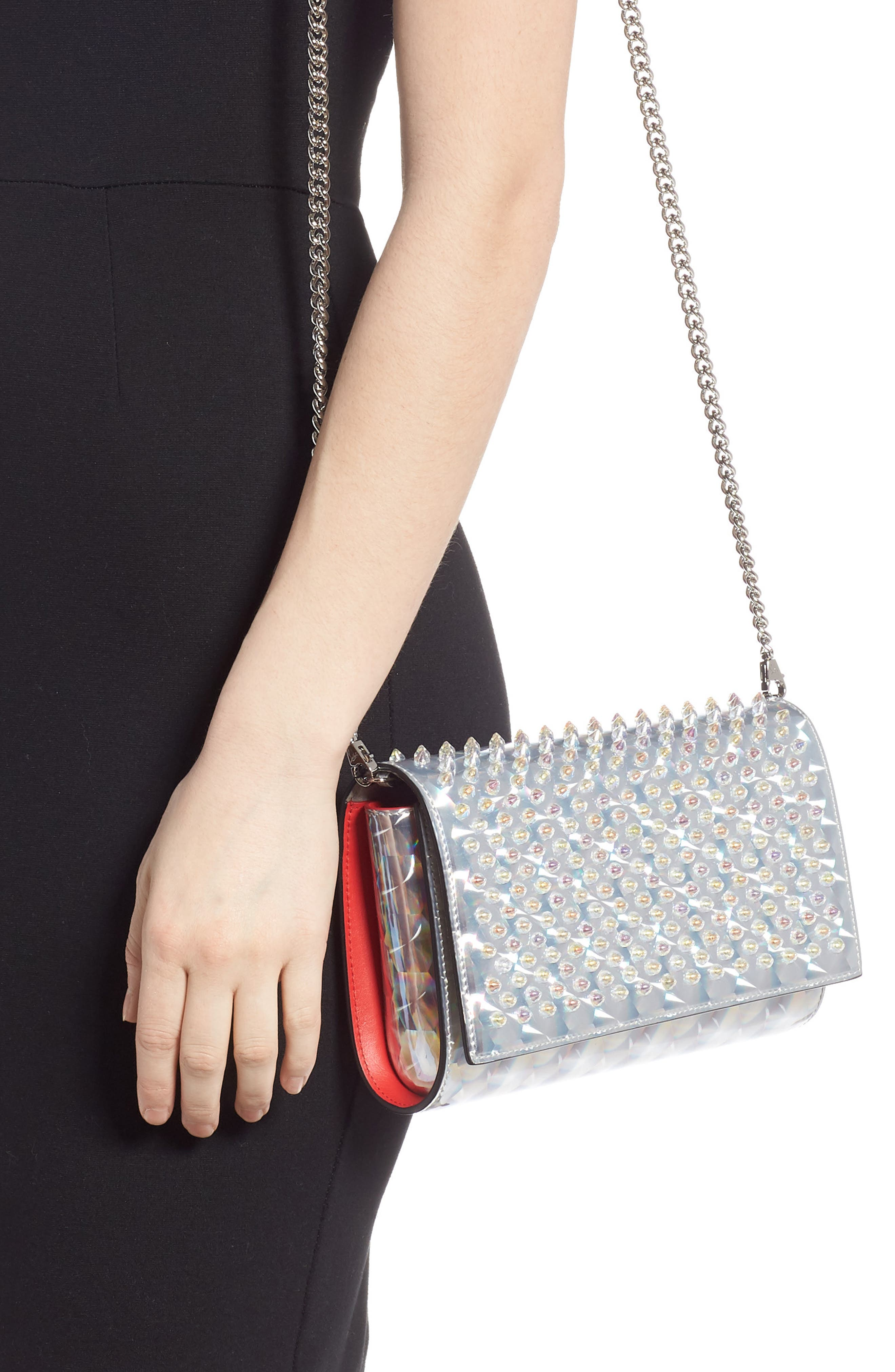 Paloma Studded Clutch,                             Alternate thumbnail 2, color,                             SILVER/ CLEAR AB