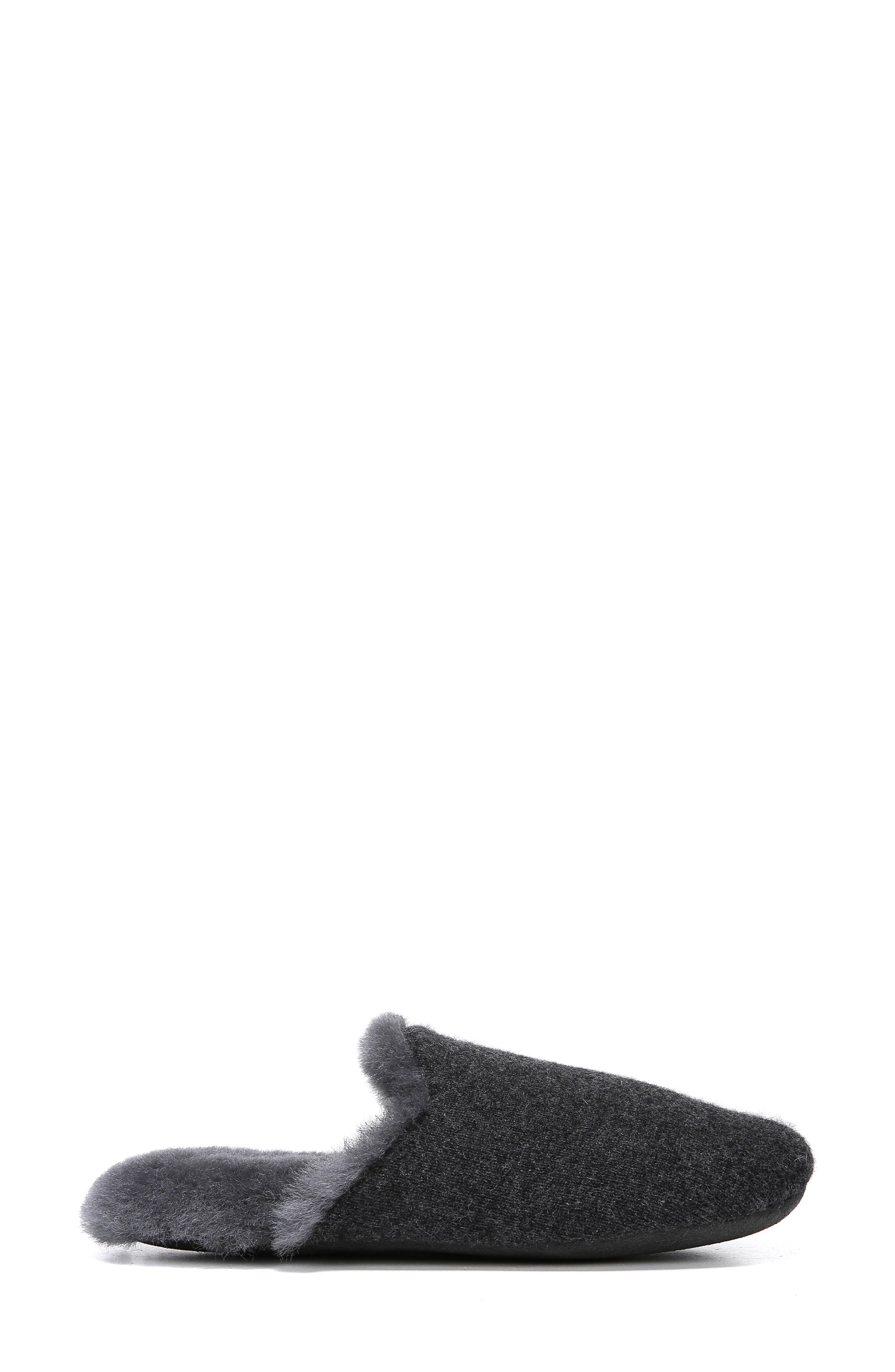 Cadie Genuine Shearling Slipper,                             Alternate thumbnail 3, color,                             CHARCOAL