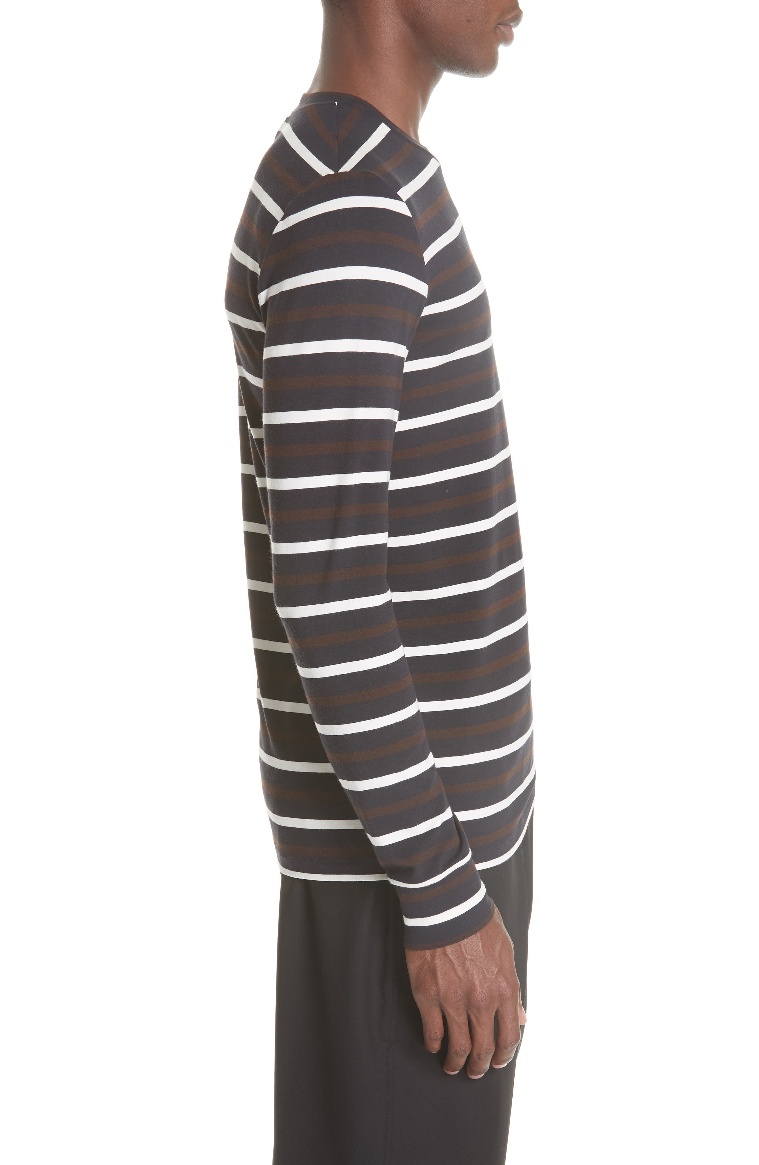 Technical Stripe Long Sleeve T-Shirt,                             Alternate thumbnail 3, color,                             BROWN