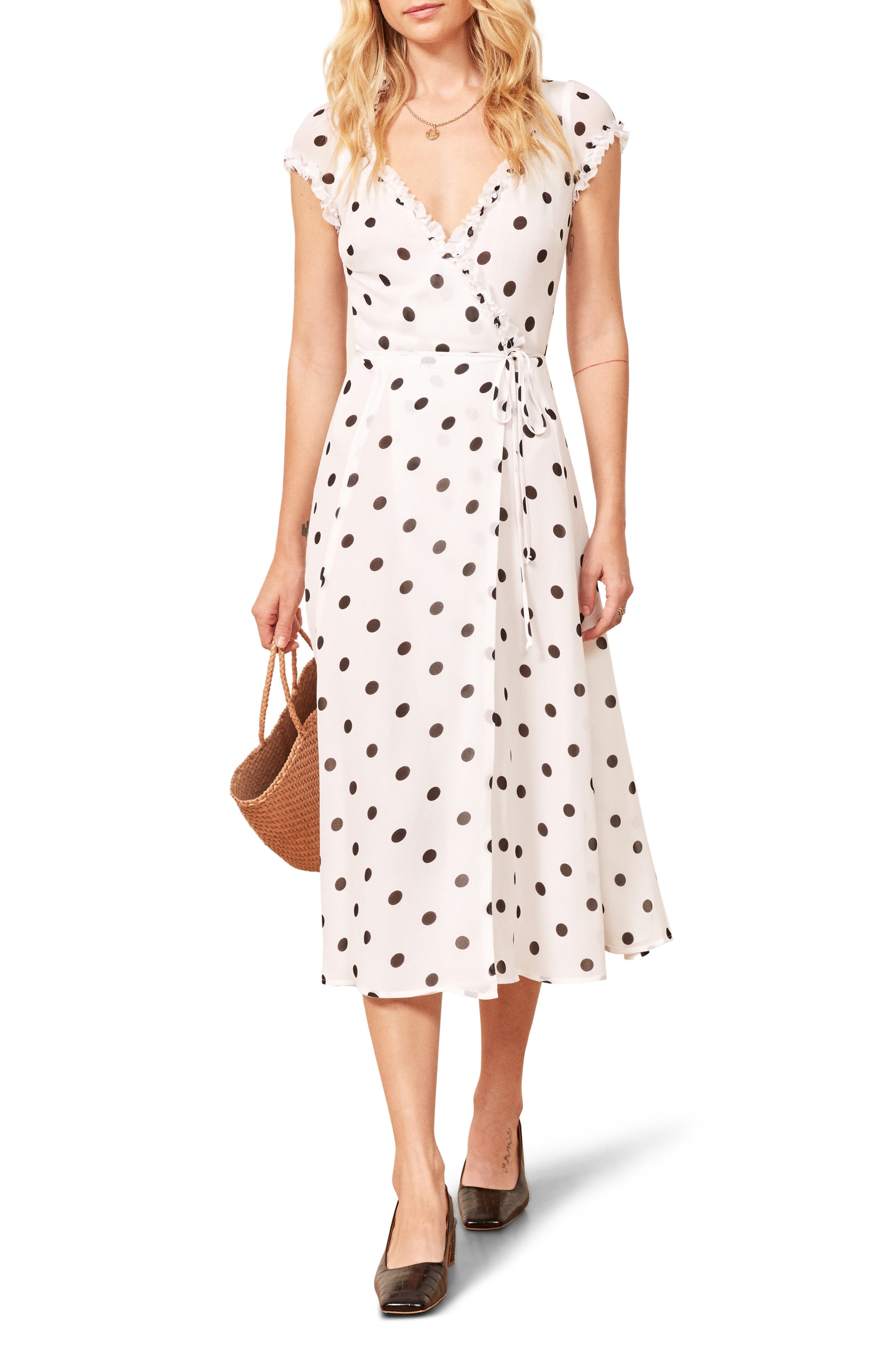 Gwenyth Polka Dot Wrap Dress,                             Main thumbnail 1, color,                             COMET