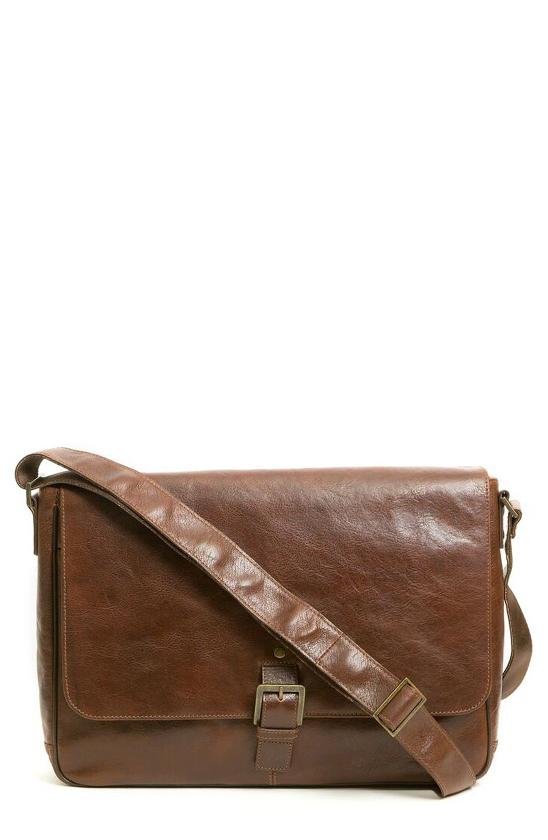 'Becker' Leather Messenger Bag,                             Main thumbnail 1, color,                             WHISKEY