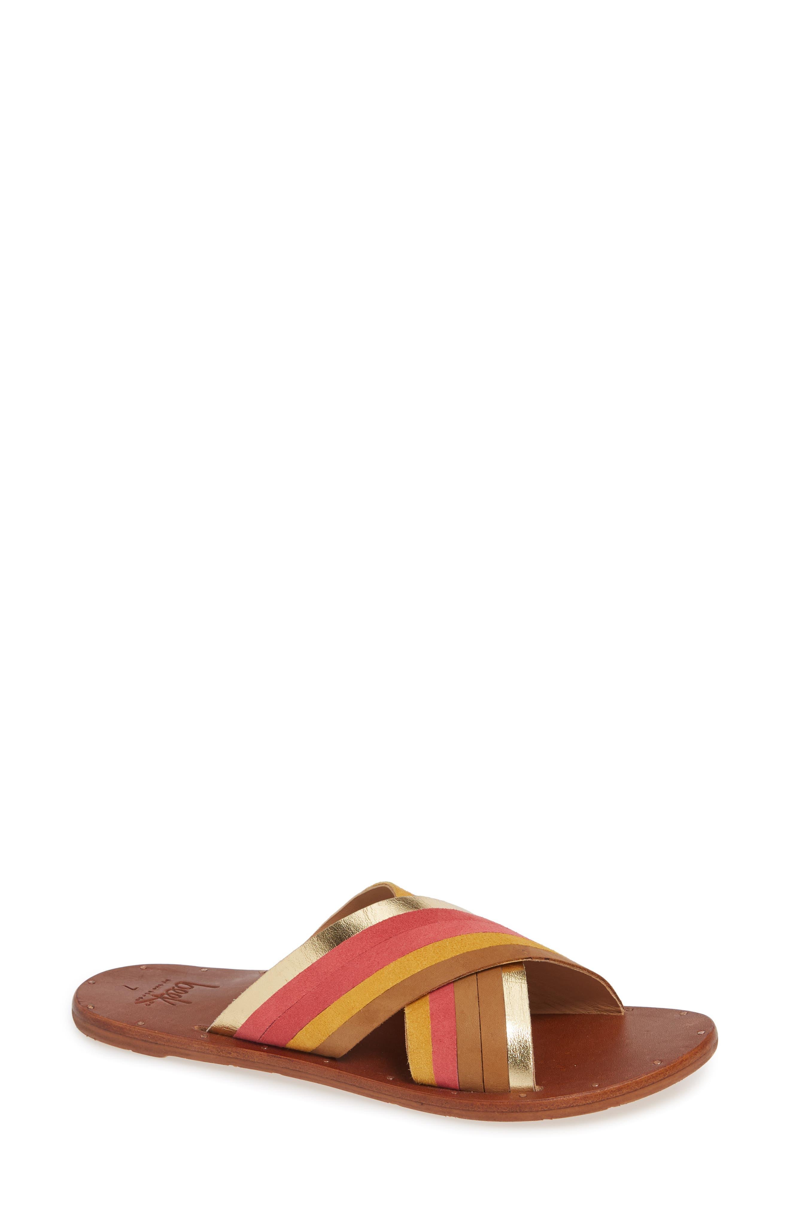 BEEK Palila Crisscross Slide Sandal in Multi/ Tan
