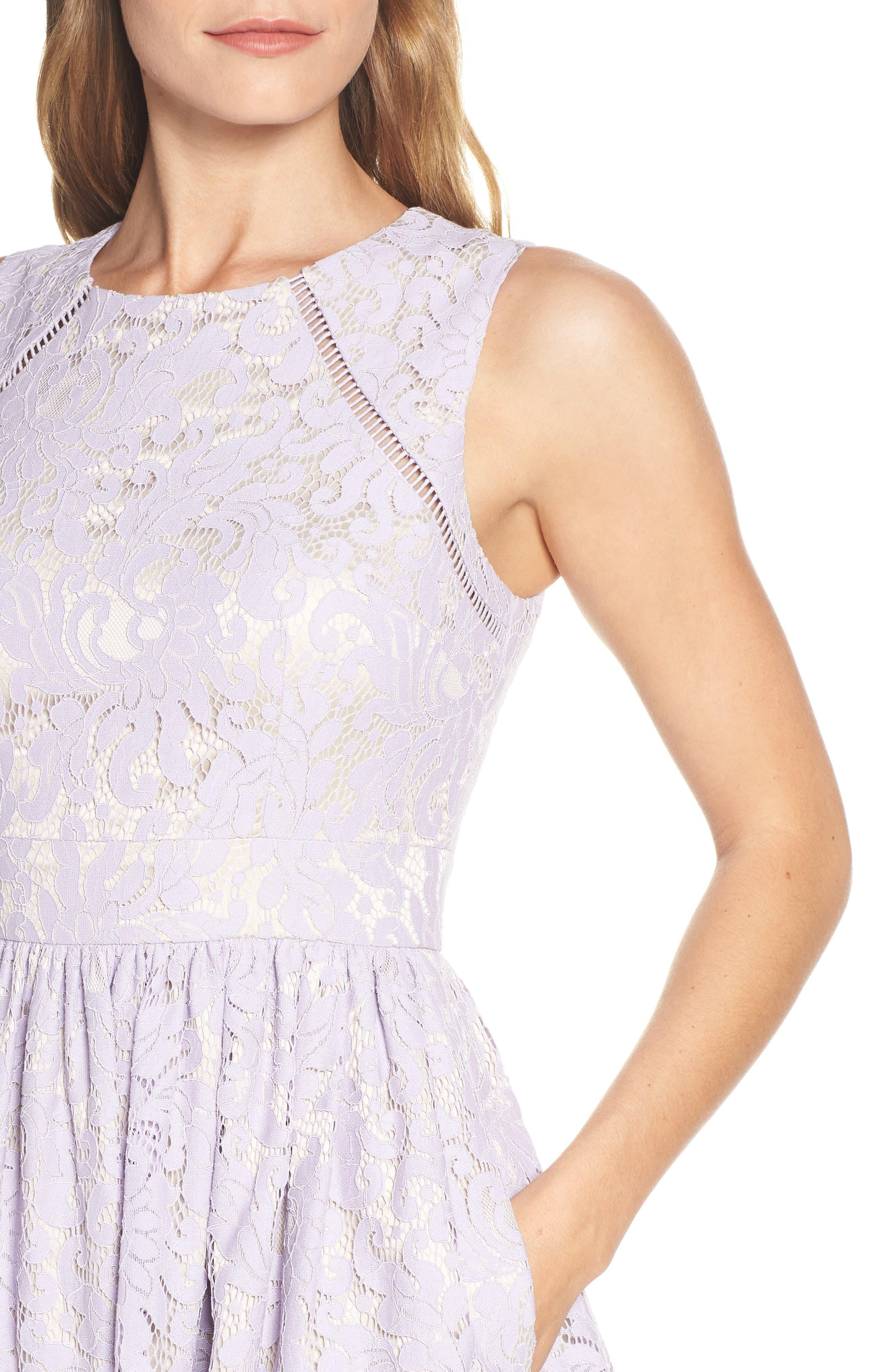 ELIZA J,                             Lace Fit & Flare Dress,                             Alternate thumbnail 4, color,                             LAVENDER