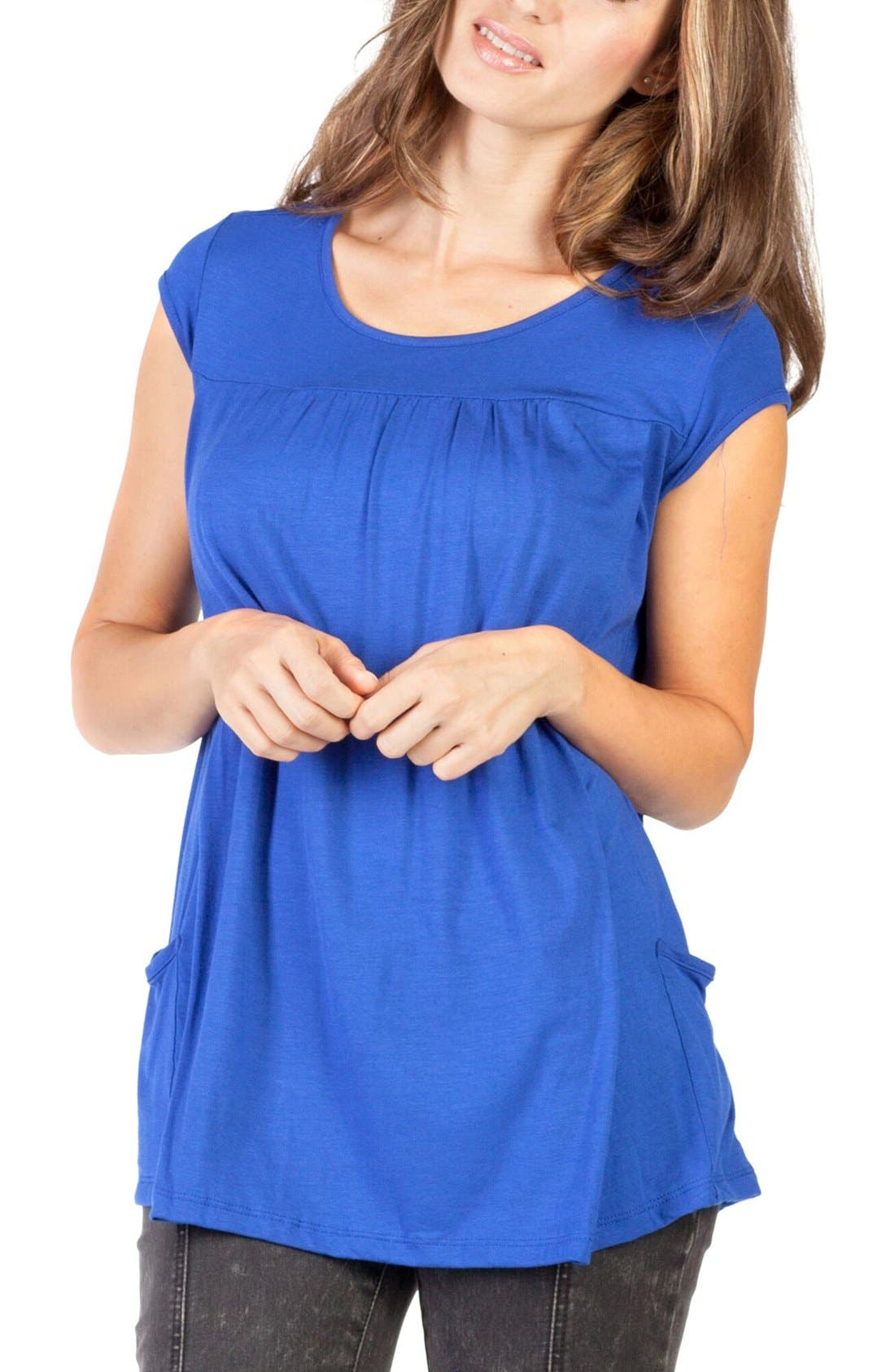 'The Babydoll' Maternity Nursing Top,                         Main,                         color, BLUE