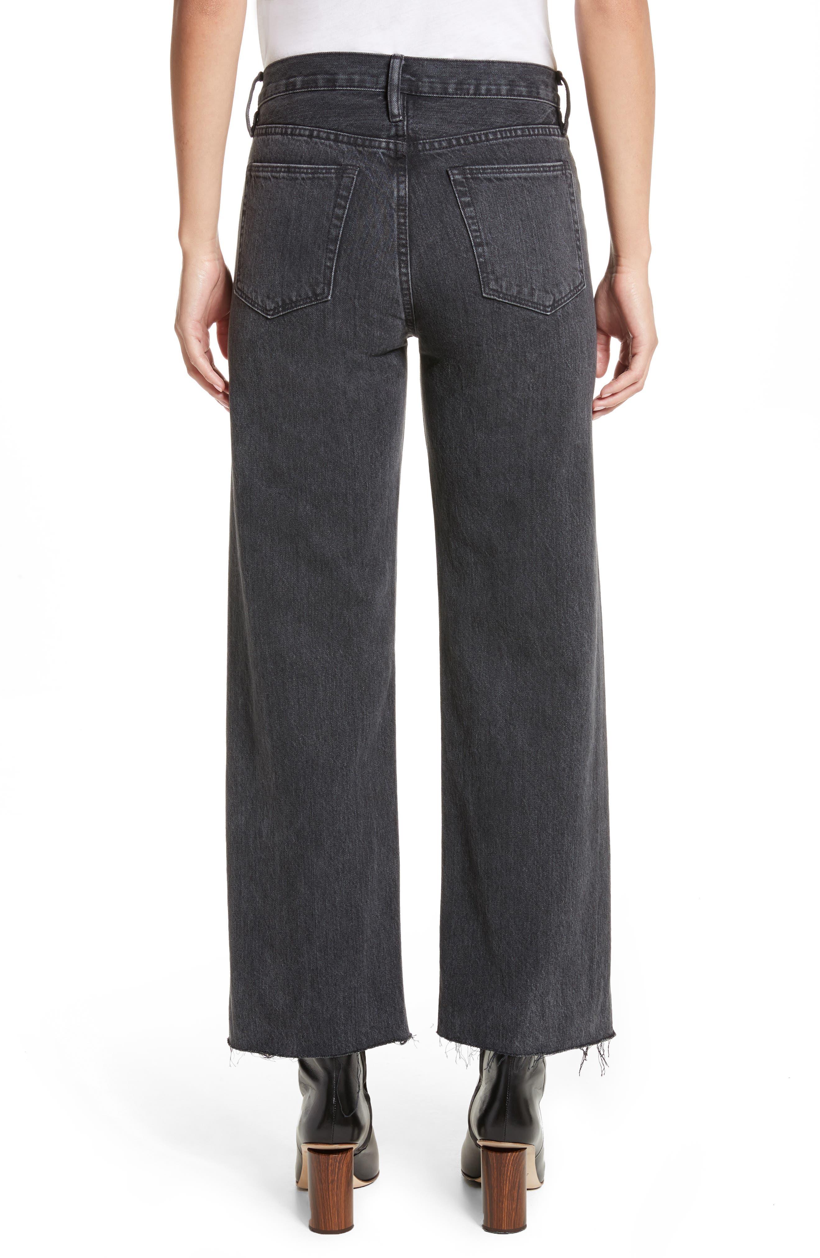 Tilson Crop Frayed Wide Leg Jeans,                             Alternate thumbnail 2, color,                             001