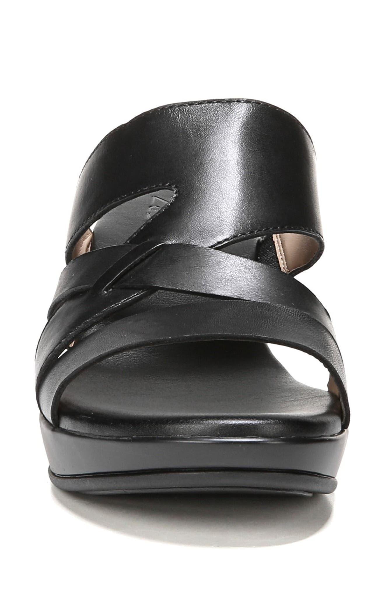 Vivy Wedge Sandal,                             Alternate thumbnail 4, color,                             BLACK LEATHER