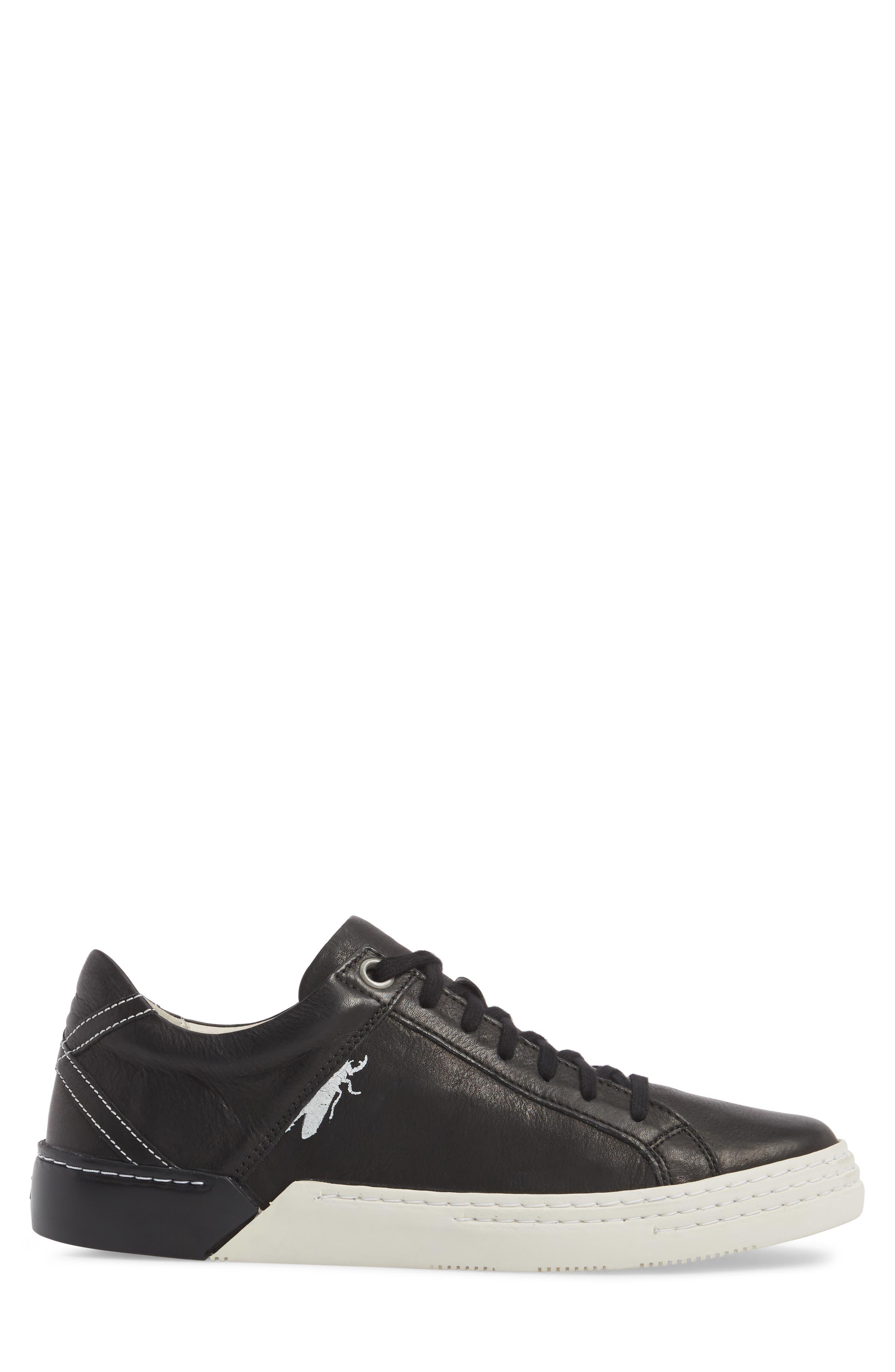 Sene Low Top Sneaker,                             Alternate thumbnail 3, color,                             BLACK LEATHER