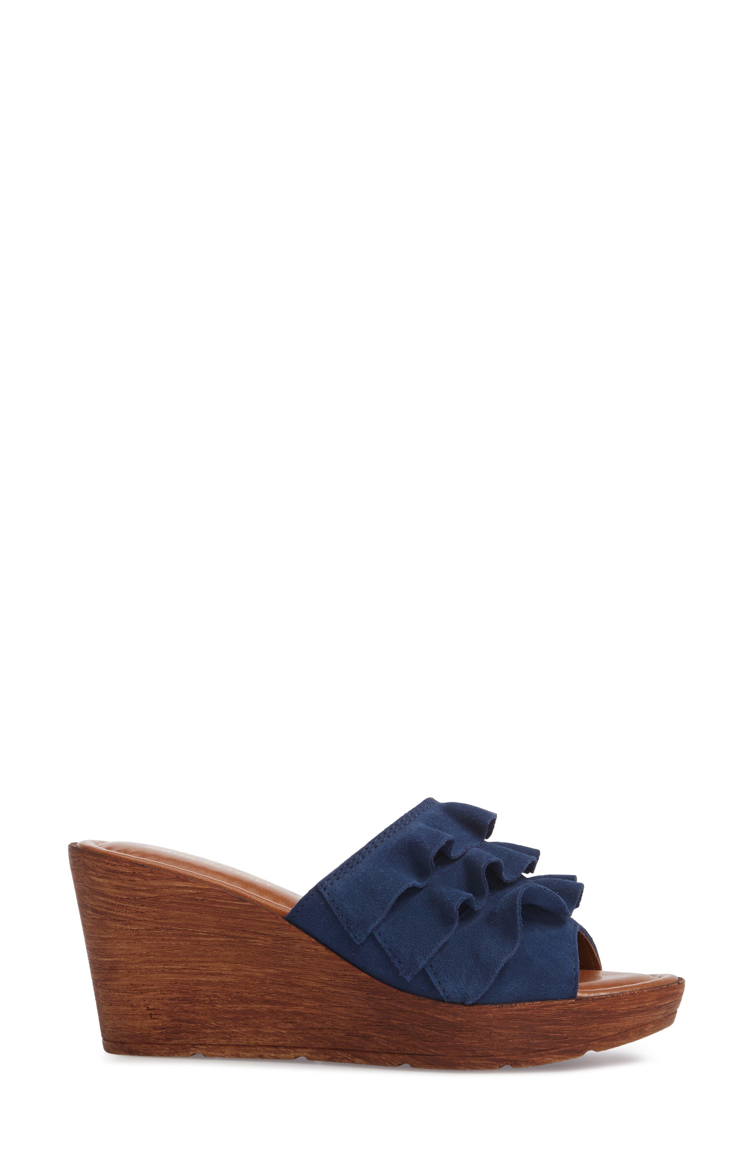 Bey Platform Wedge Sandal,                             Alternate thumbnail 3, color,                             NAVY SUEDE