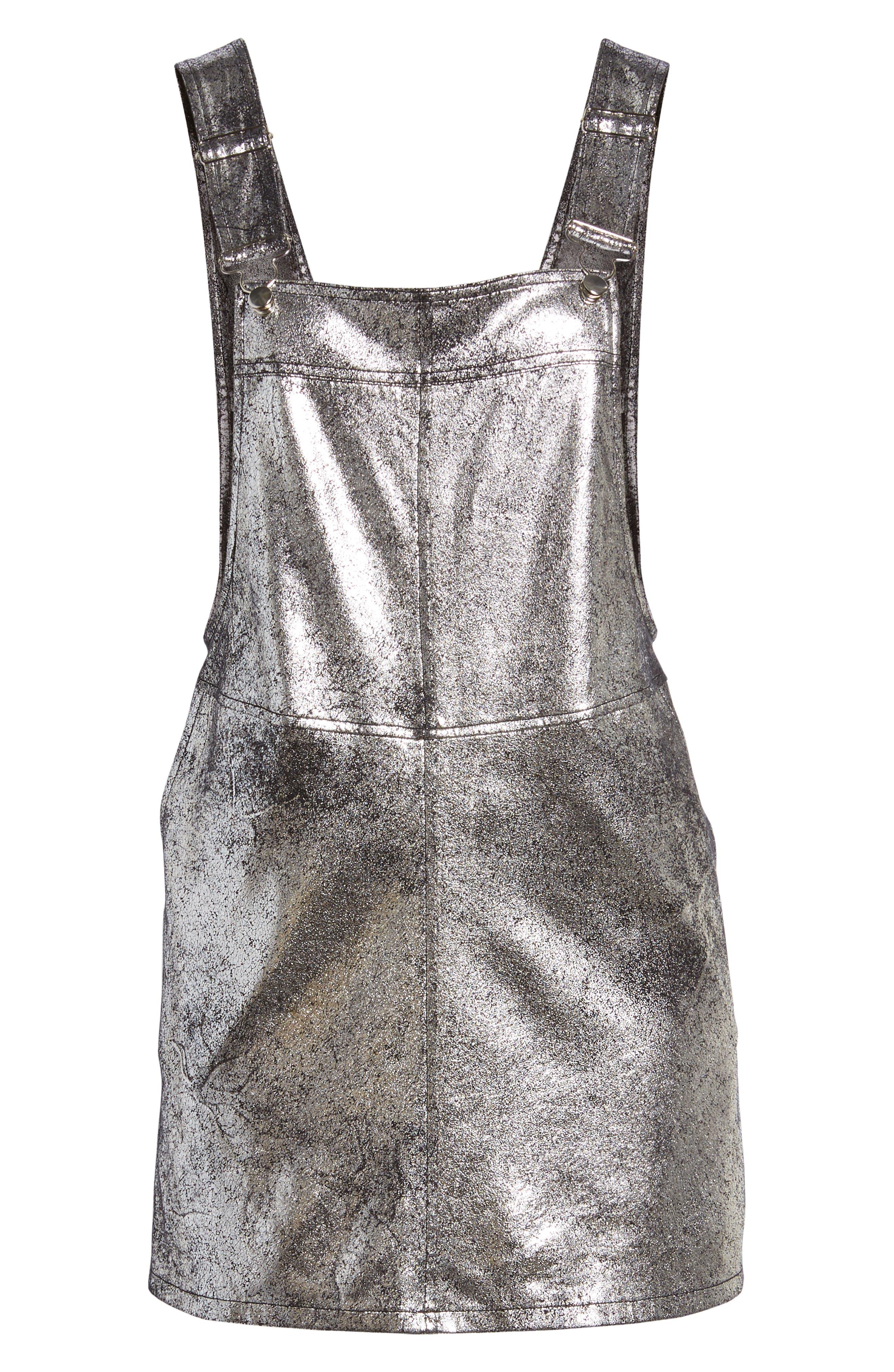Metallic Overall Minidress,                             Alternate thumbnail 6, color,