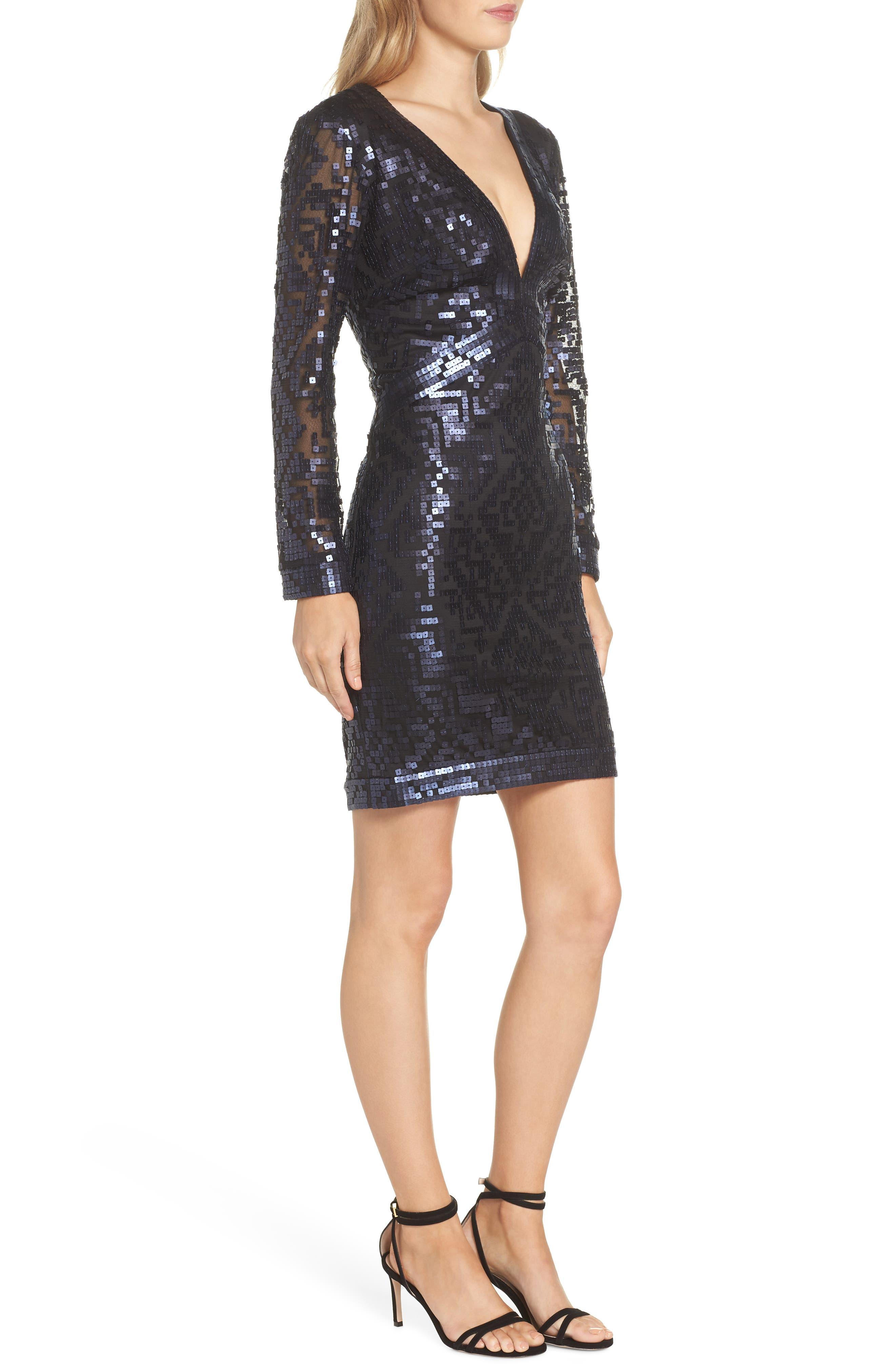 Sequin Cocktail Dress,                             Alternate thumbnail 3, color,                             412