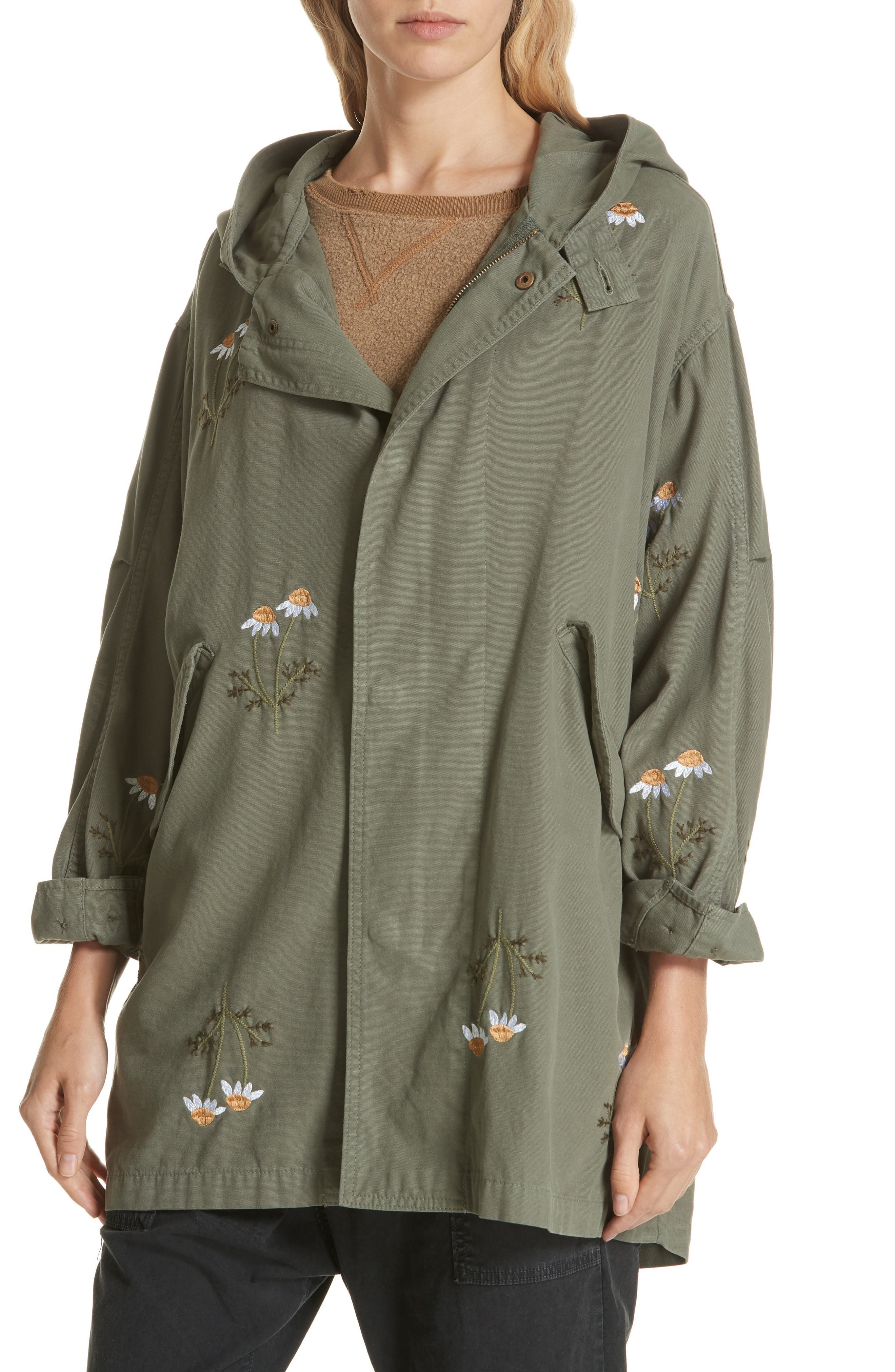 Embroidered Military Parka,                             Alternate thumbnail 4, color,                             ARMY GREEN W/ DAISY