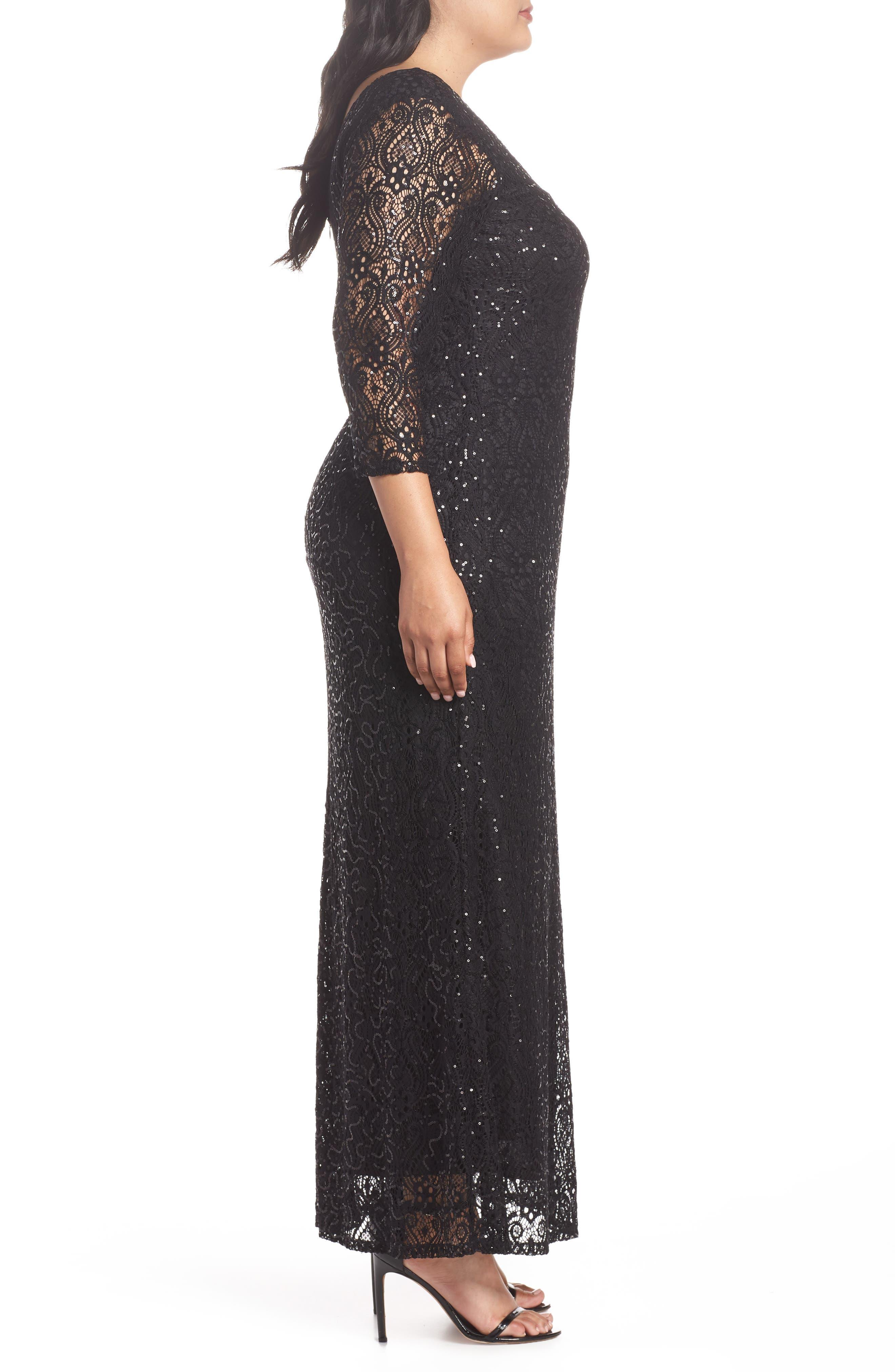 Sequin Lace A-Line Gown,                             Alternate thumbnail 3, color,                             001