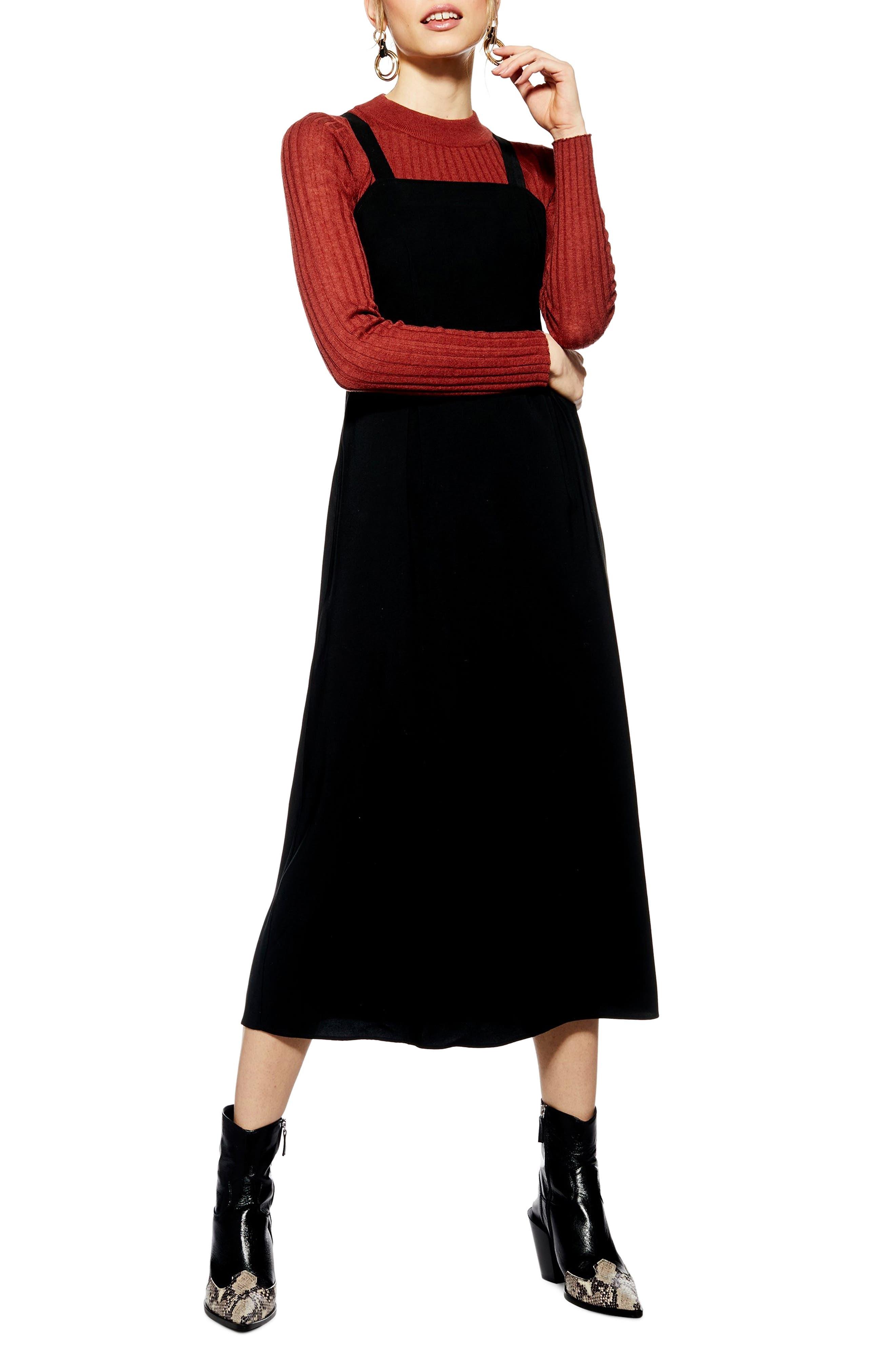 TOPSHOP Tilda Pinafore Midi Dress, Main, color, BLACK