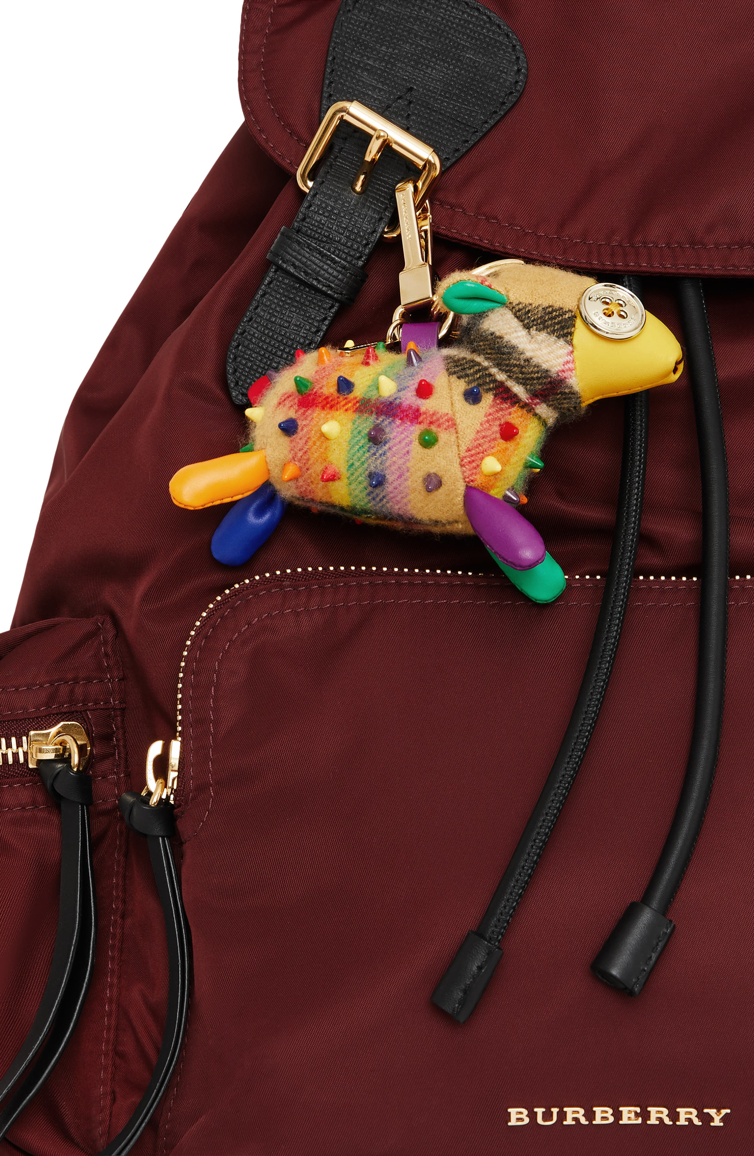 BURBERRY,                             Wendy the Sheep Rainbow Check Cashmere Bag Charm,                             Alternate thumbnail 2, color,                             250