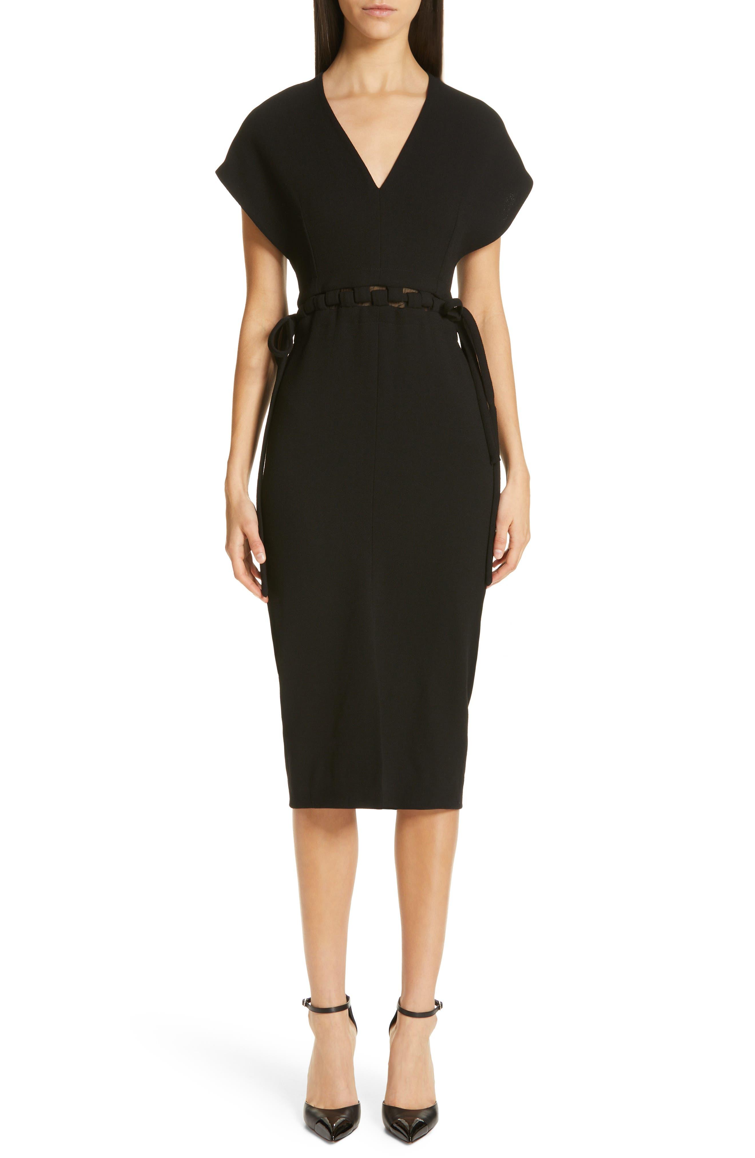 Lela Rose V-Neck Wool Crepe Dress, Black