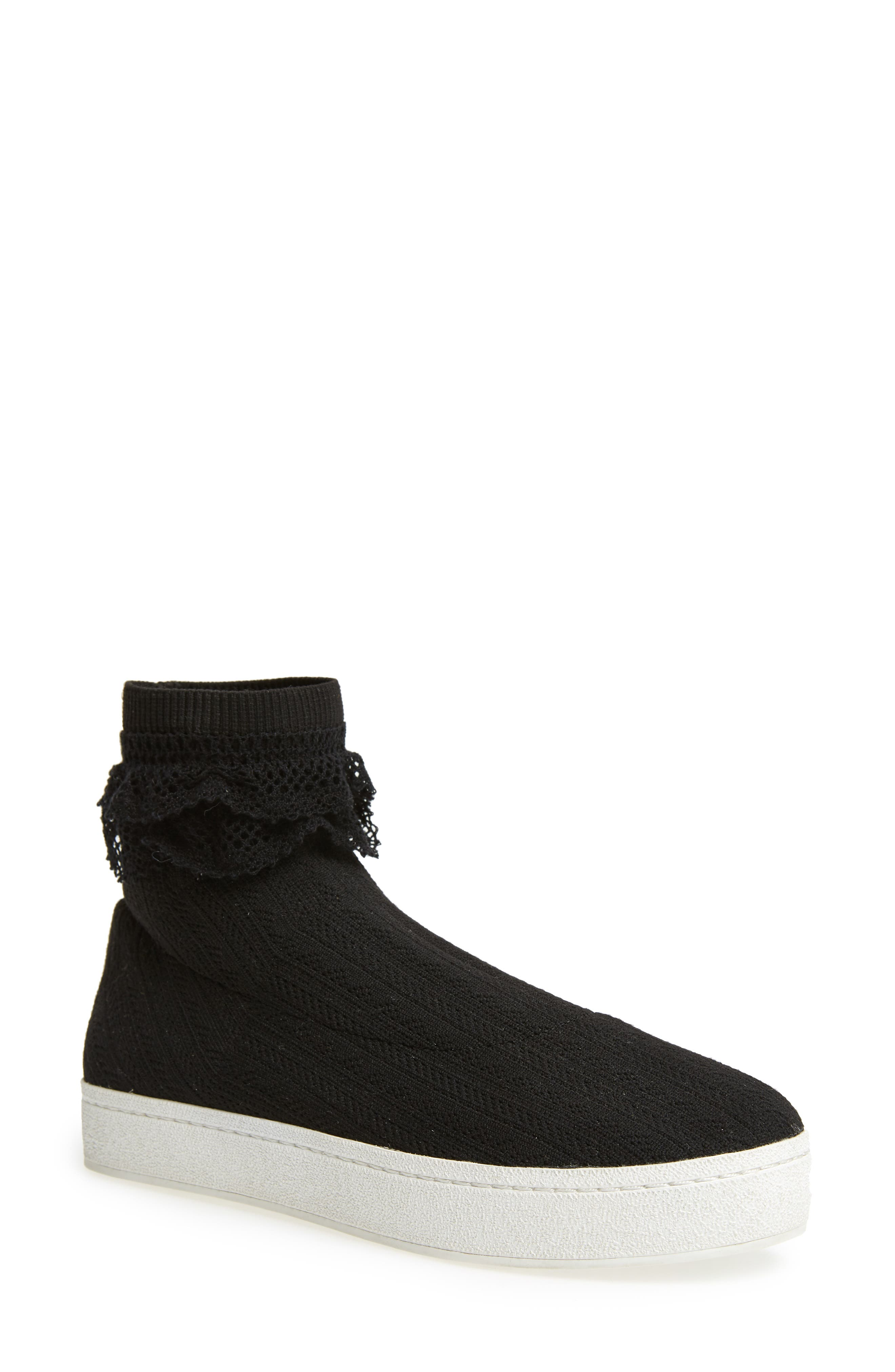 Bobby Sock Knit Sneaker,                         Main,                         color, BLACK