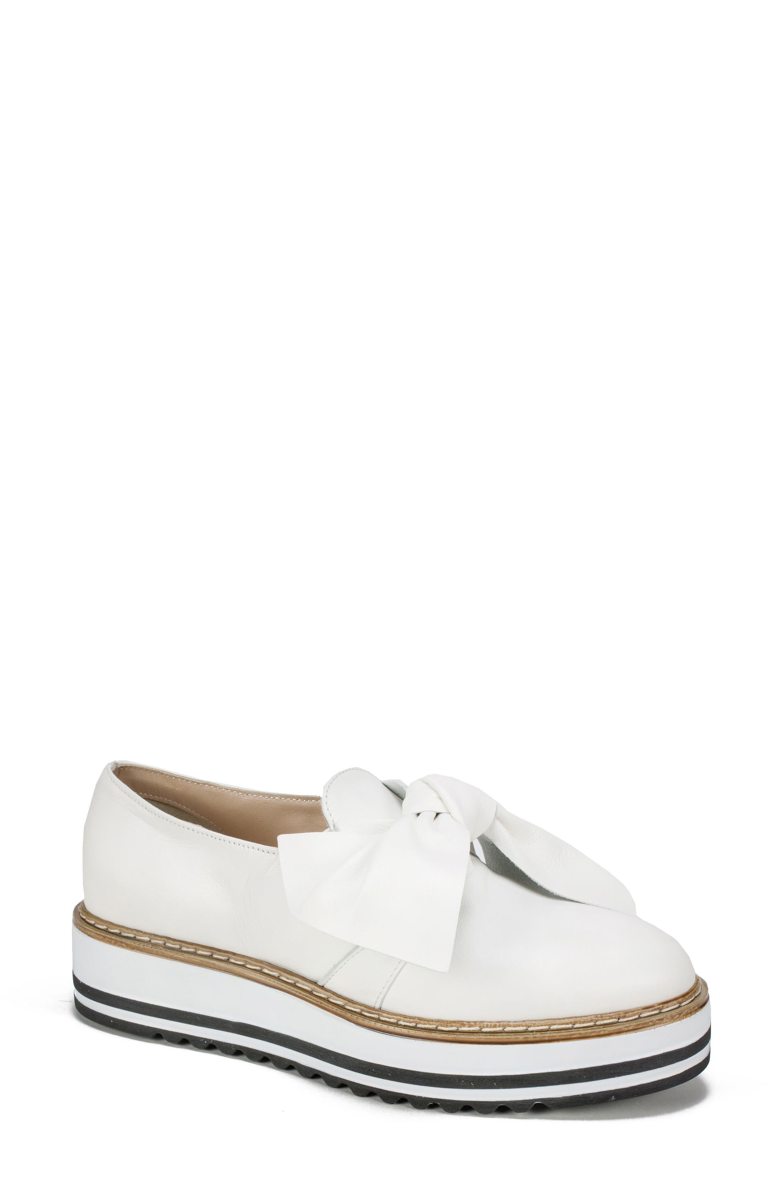 Bella Platform Loafer,                         Main,                         color, WHITE LEATHER