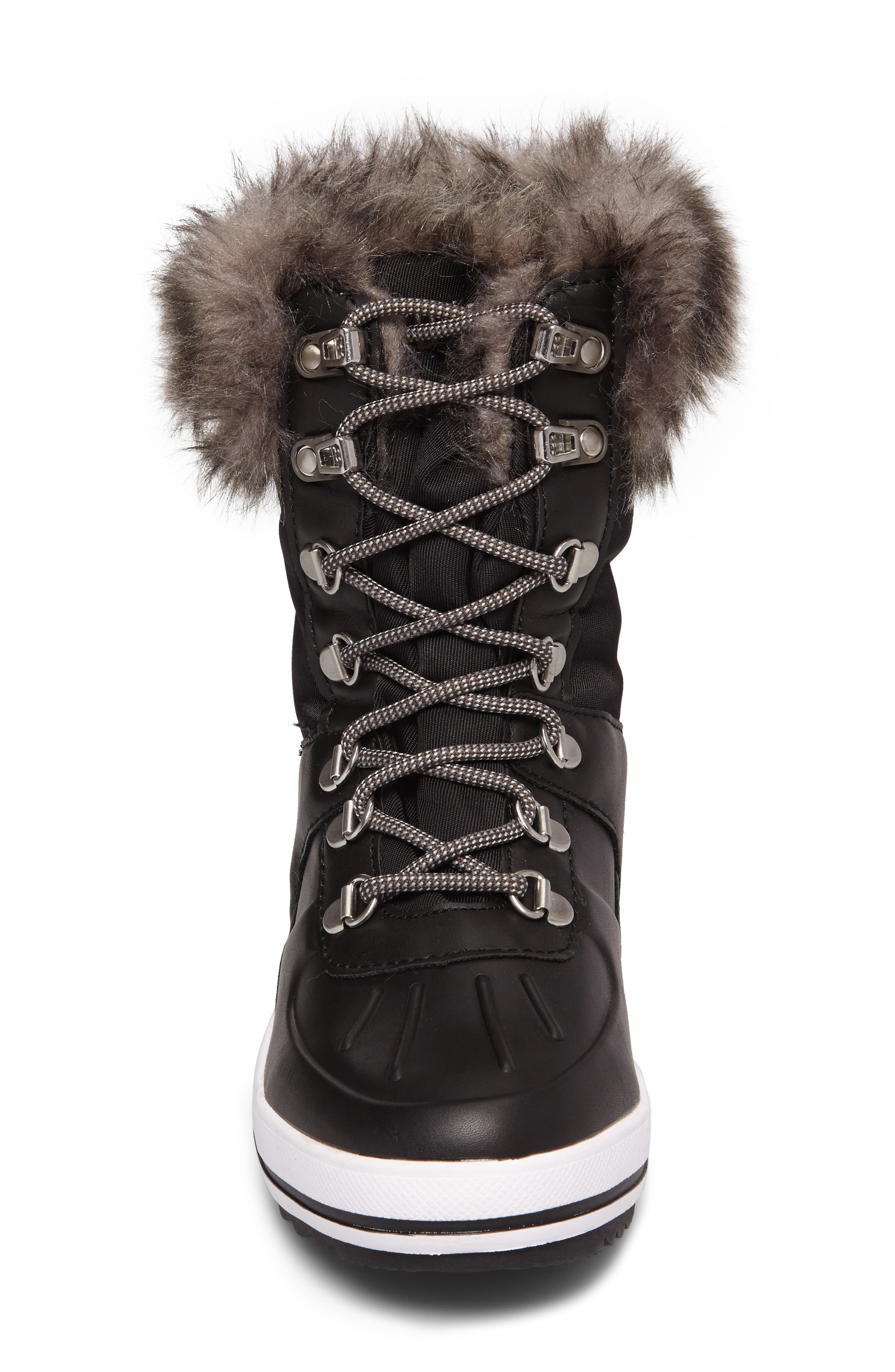 Viper Waterproof Snow Boot with Faux Fur Trim,                             Alternate thumbnail 4, color,                             BLACK