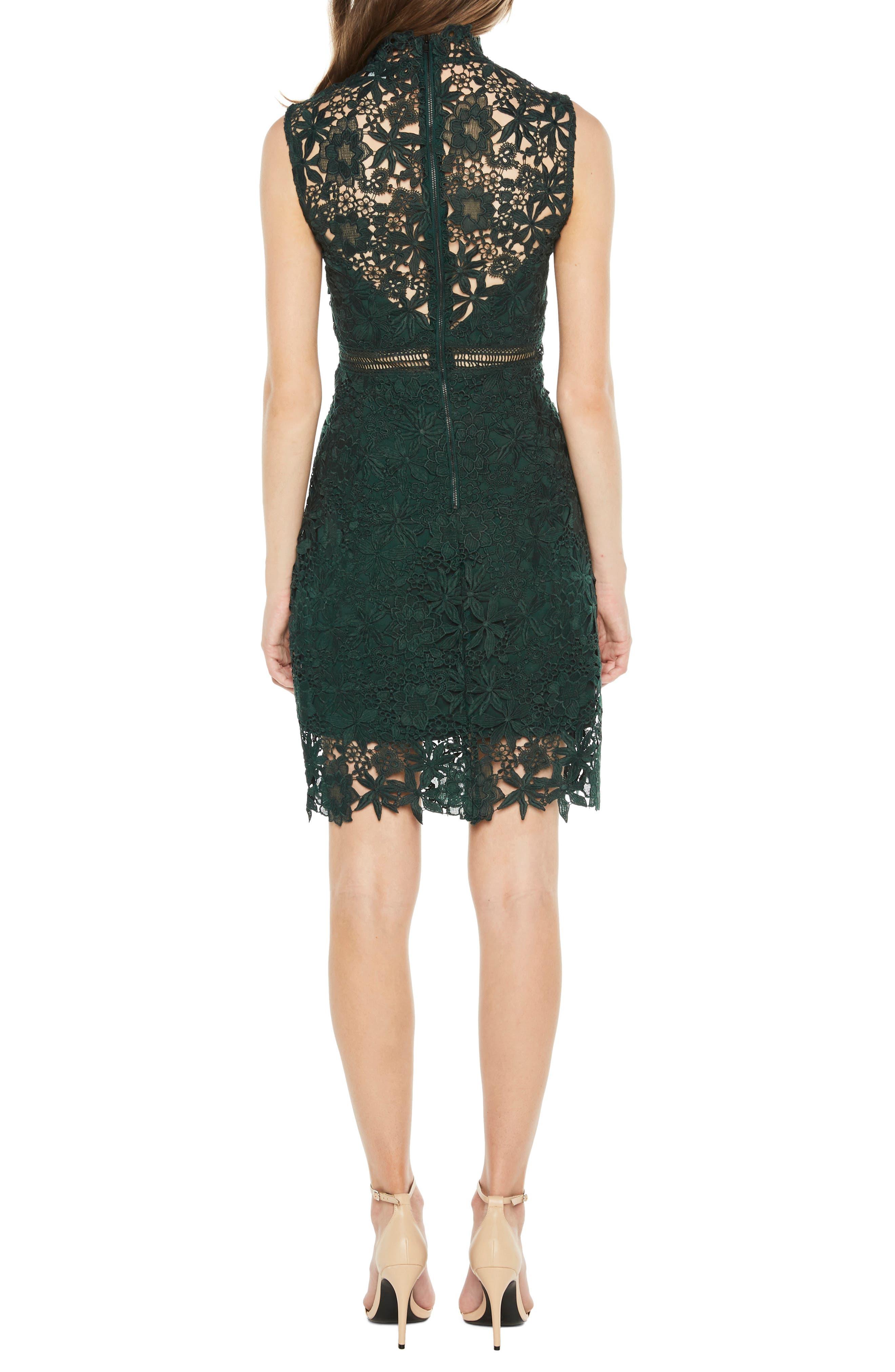 Paris Lace Body-Con Dress,                             Alternate thumbnail 2, color,                             FOREST GREEN