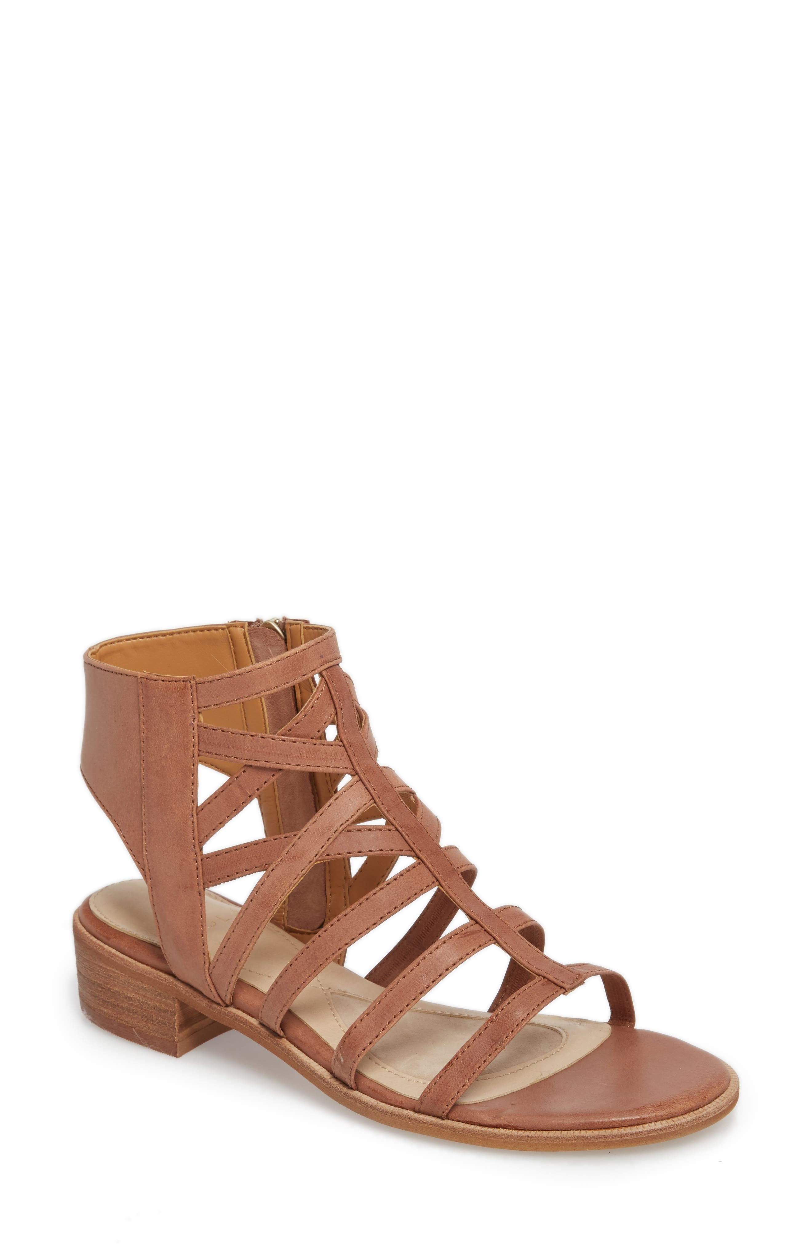 Genesis Cage Sandal,                         Main,                         color, ALMOND LEATHER