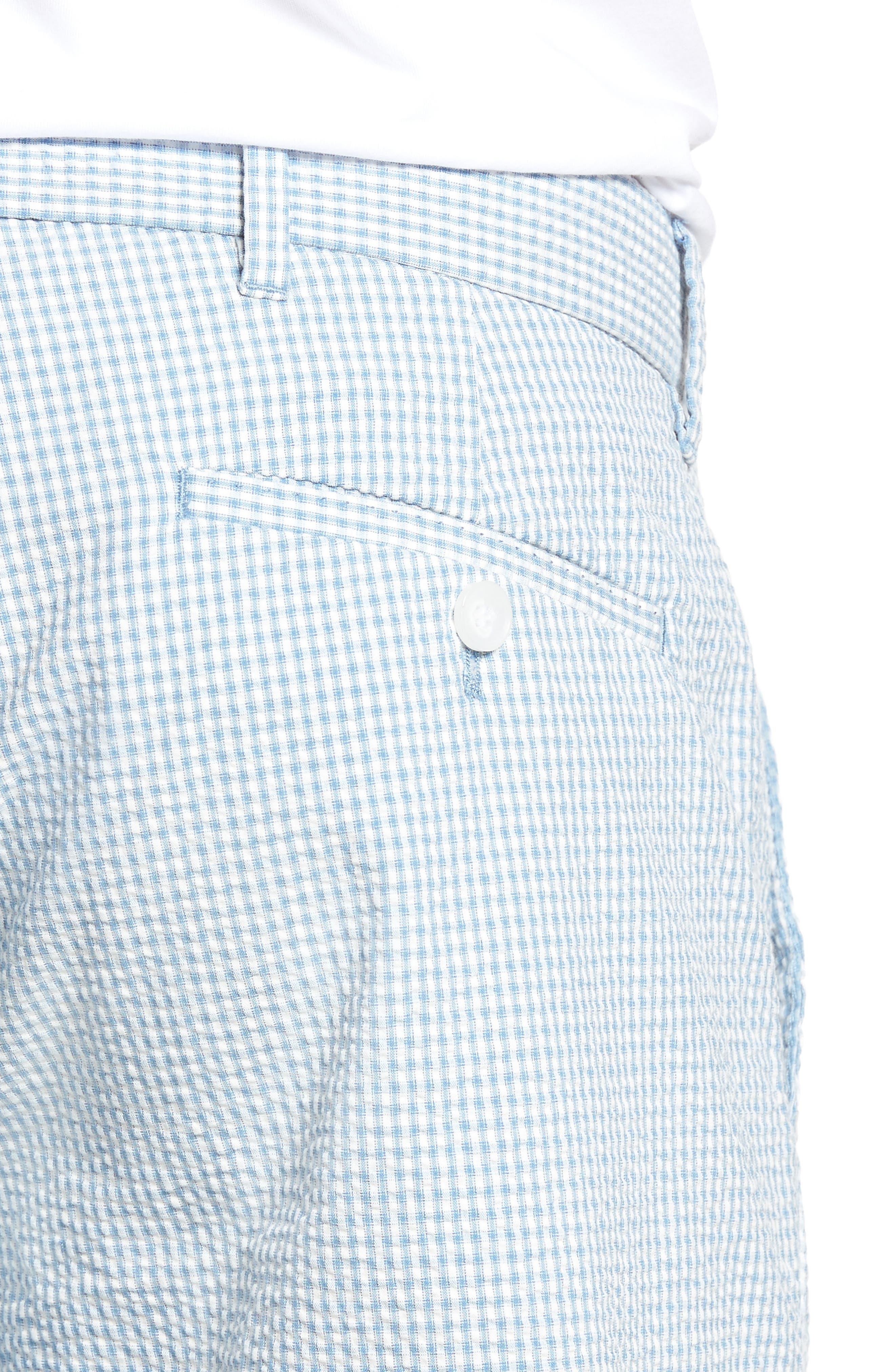 Fringe Check Seersucker Shorts,                             Alternate thumbnail 4, color,                             400