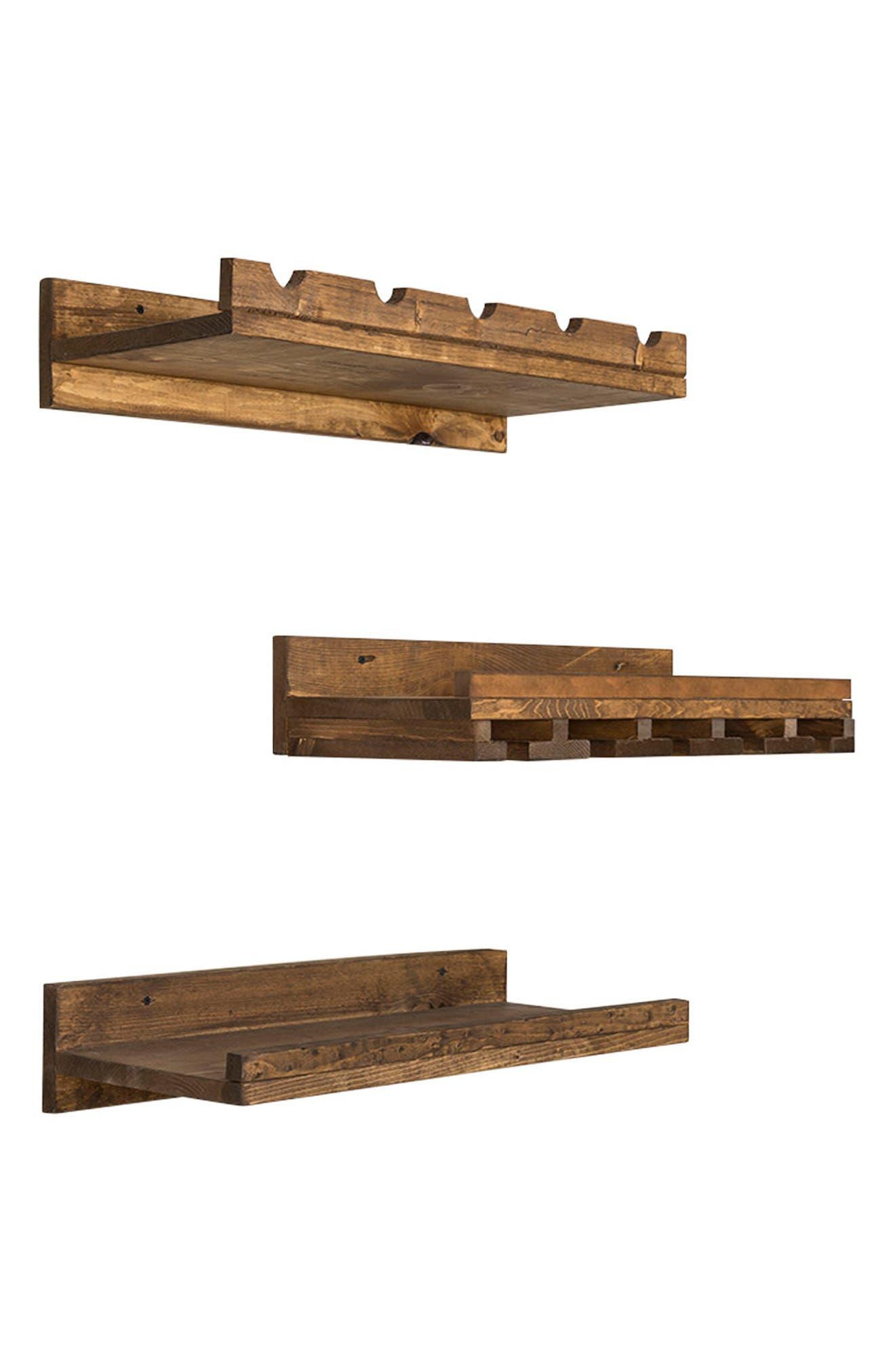 Set of 3 Pine Wood Wine Racks,                             Alternate thumbnail 4, color,                             200