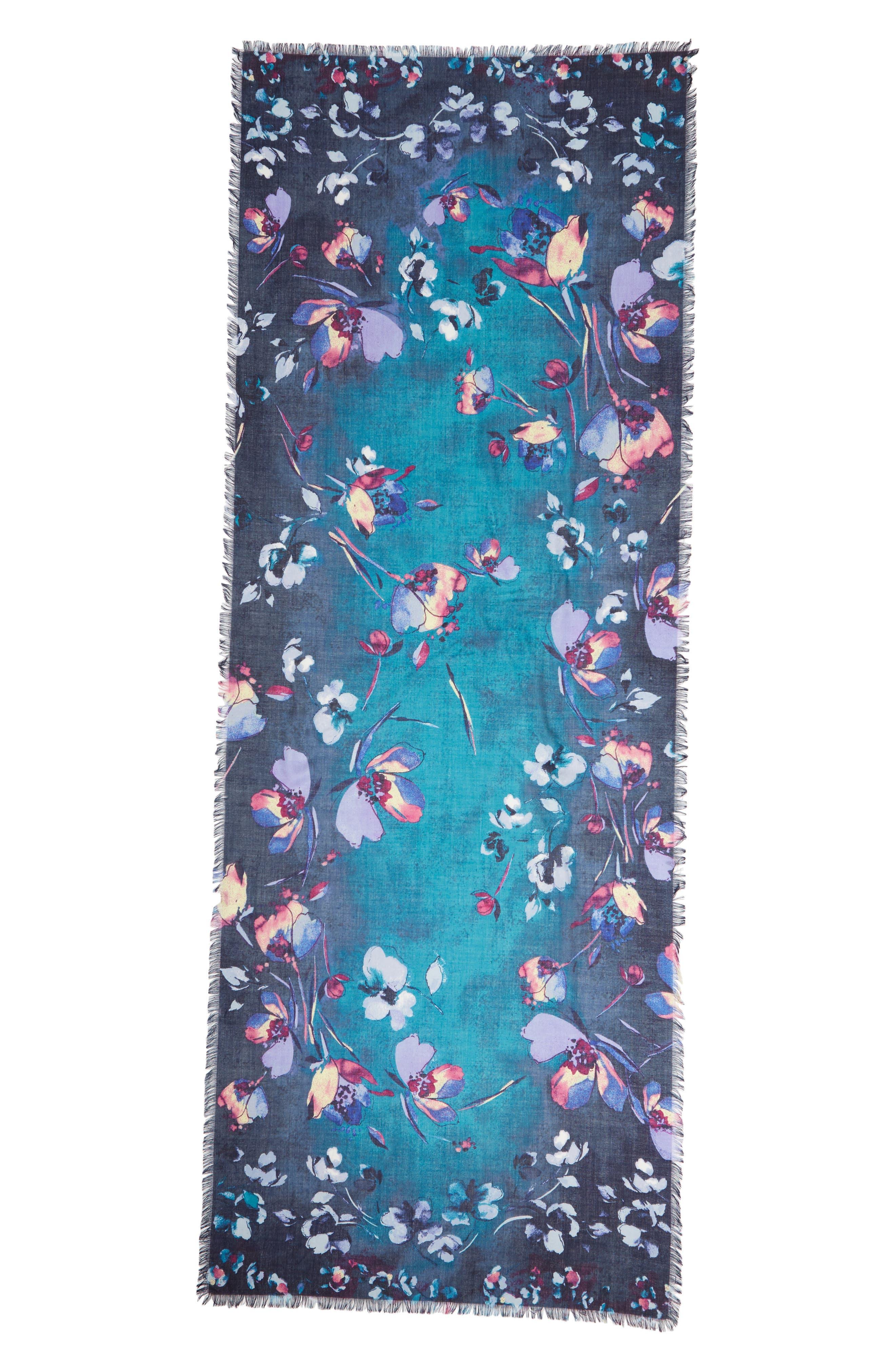 Eyelash Trim Print Cashmere & Silk Wrap,                             Alternate thumbnail 42, color,