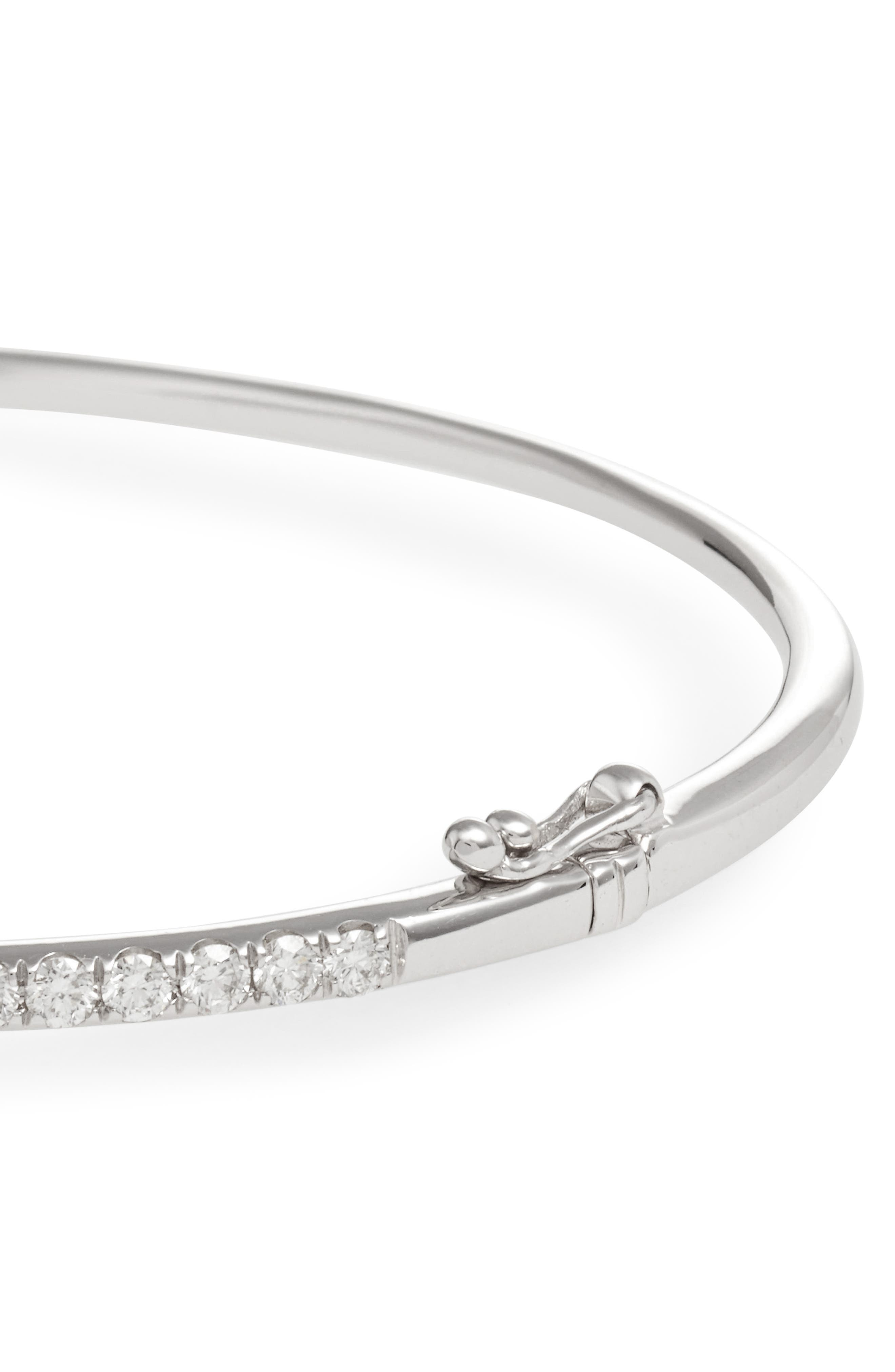 Stackable Large Skinny Diamond Bangle,                             Alternate thumbnail 4, color,                             WHITE GOLD