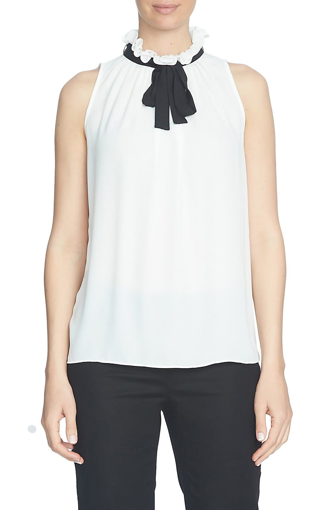 Sleeveless Crepe Tie Neck Blouse,                         Main,                         color, 103