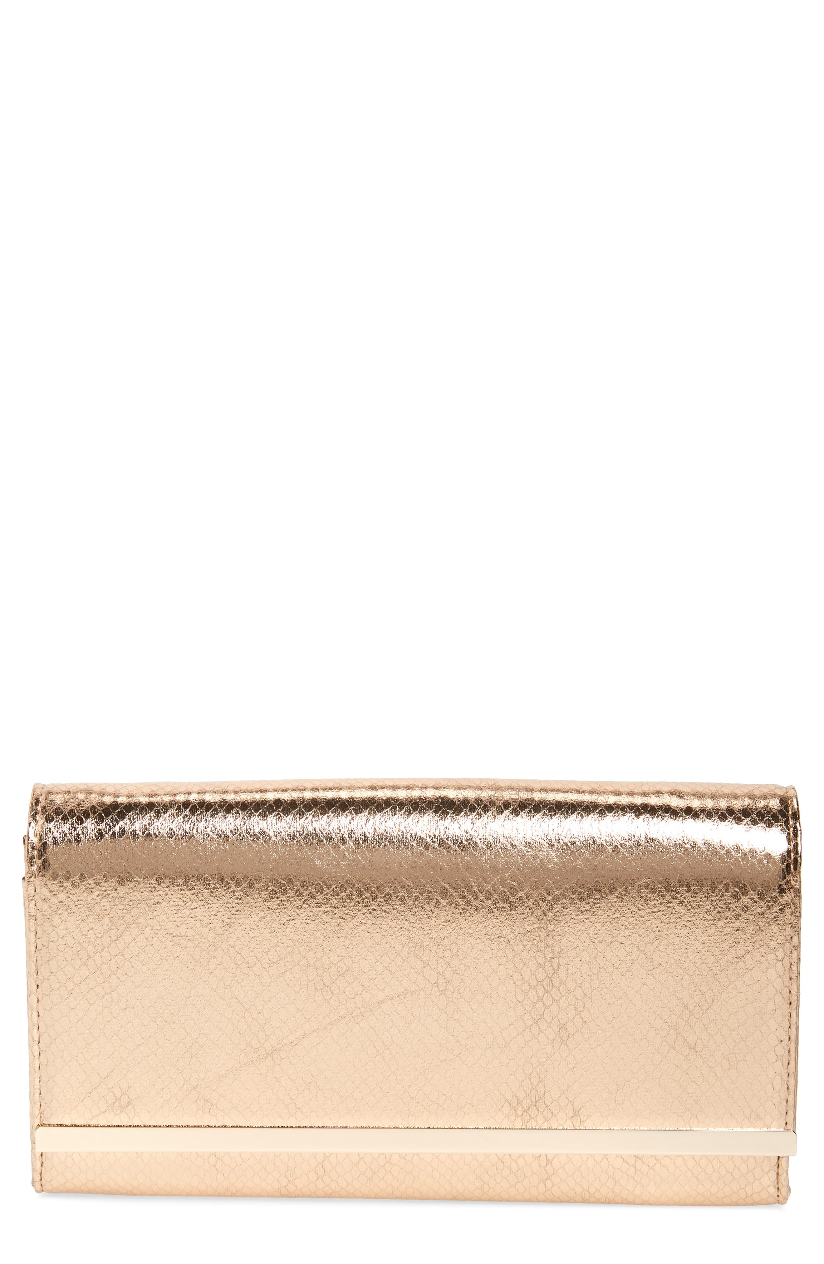Metallic Snake-Embossed Faux Leather Bar Clutch,                         Main,                         color, ROSE GOLD
