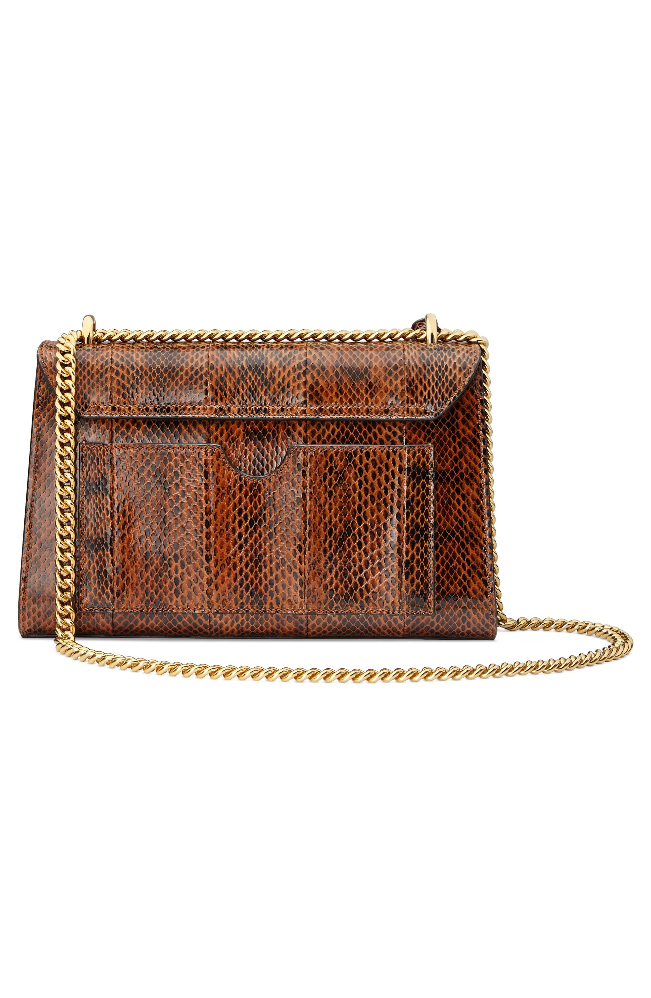 Medium Padlock - Elaphe Genuine Snakeskin Shoulder Bag,                             Alternate thumbnail 2, color,                             BRIGHT CUIR