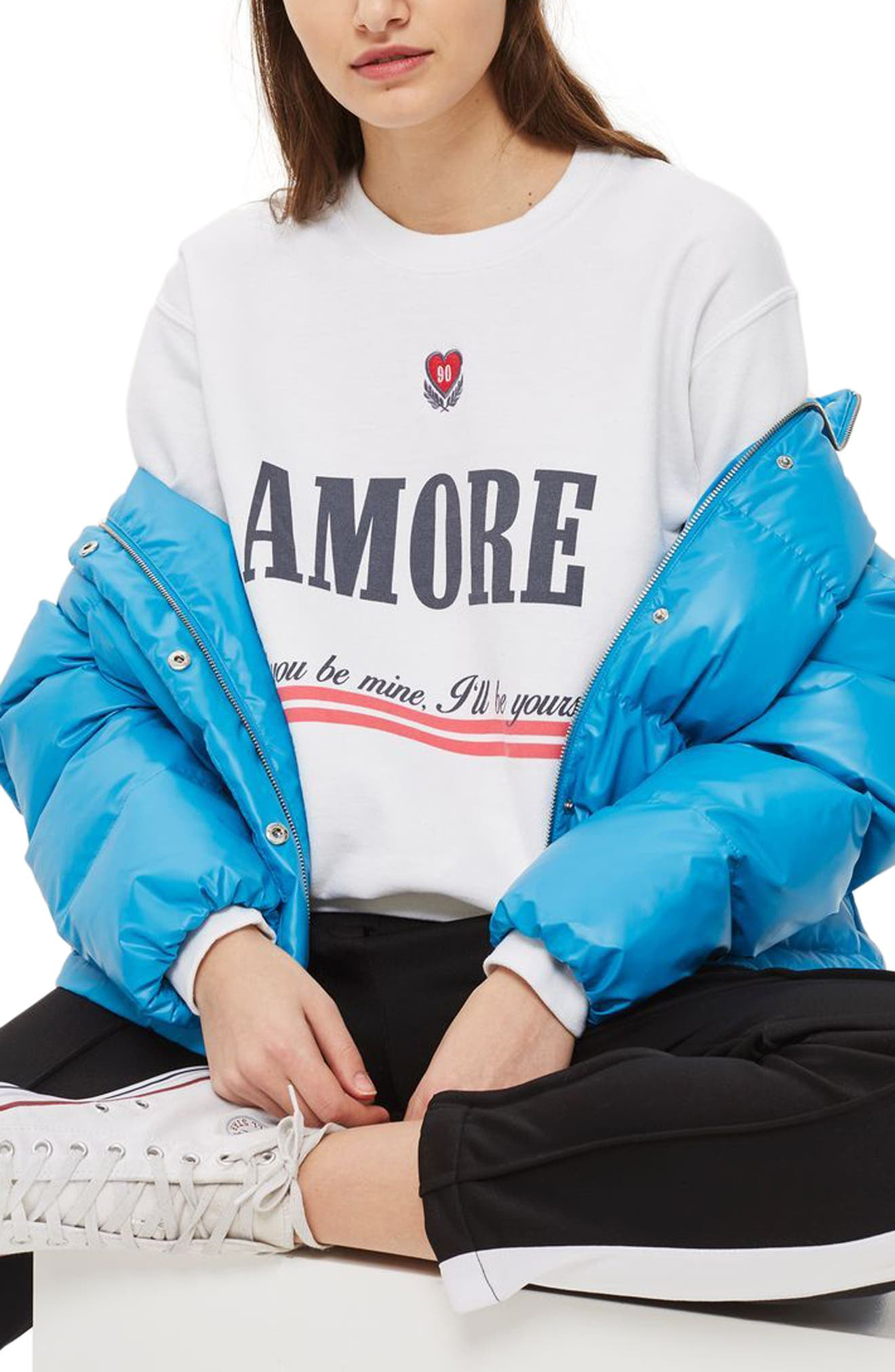 Embroidered Amore Sweatshirt, Main, color, 100